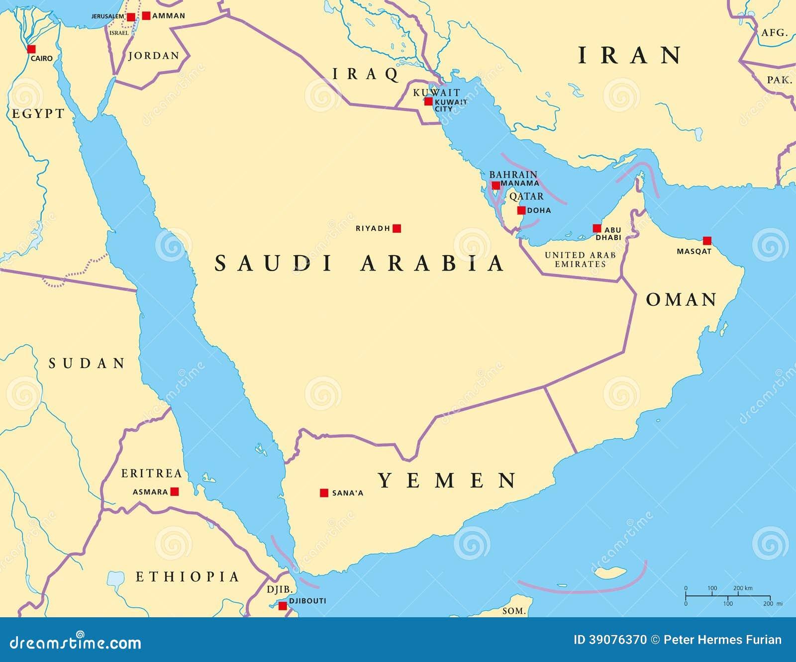 Cartina Geografica Dei Paesi Arabi.Mappa Politica Della Penisola Araba Illustrazione Vettoriale Illustrazione Di Nazionalit Egitto 39076370