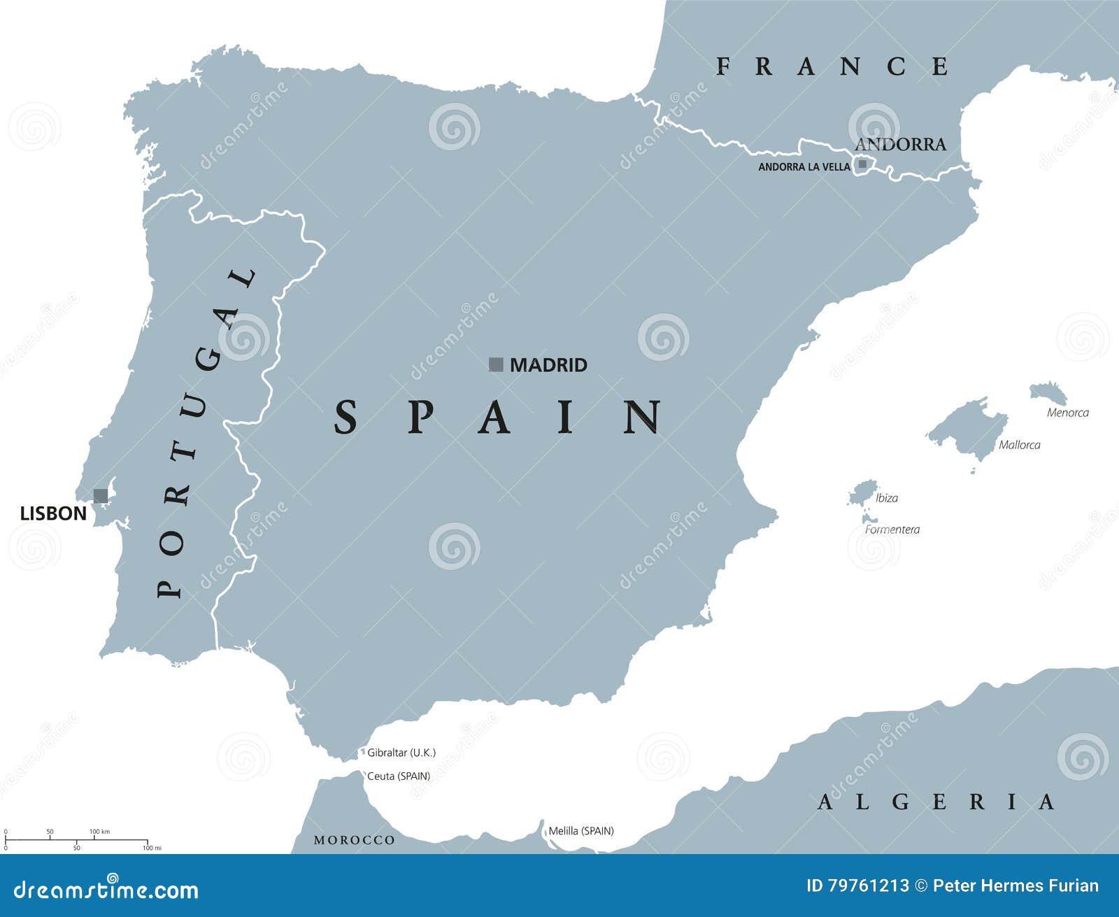 Portogallo E Spagna Cartina.Mappa Politica Della Spagna E Del Portogallo Illustrazione Vettoriale Illustrazione Di Terra Andorra 79761213