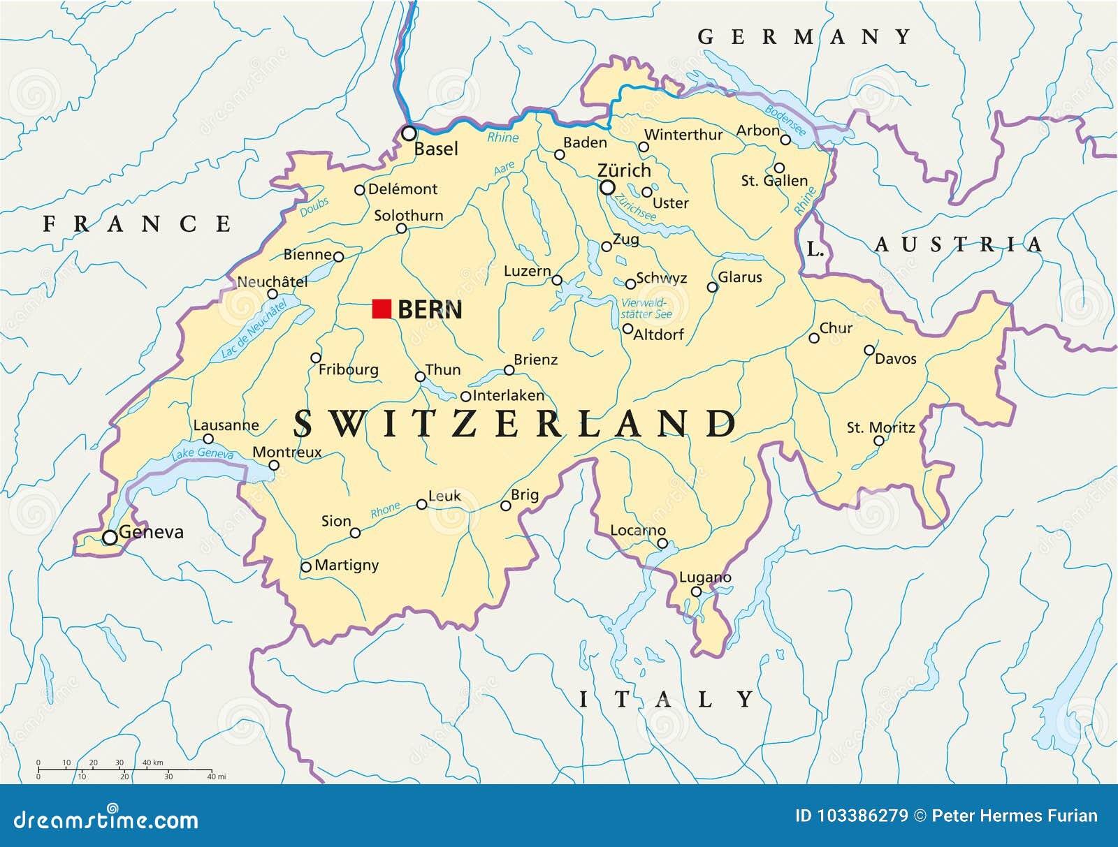 Cartina Politica Italia E Svizzera