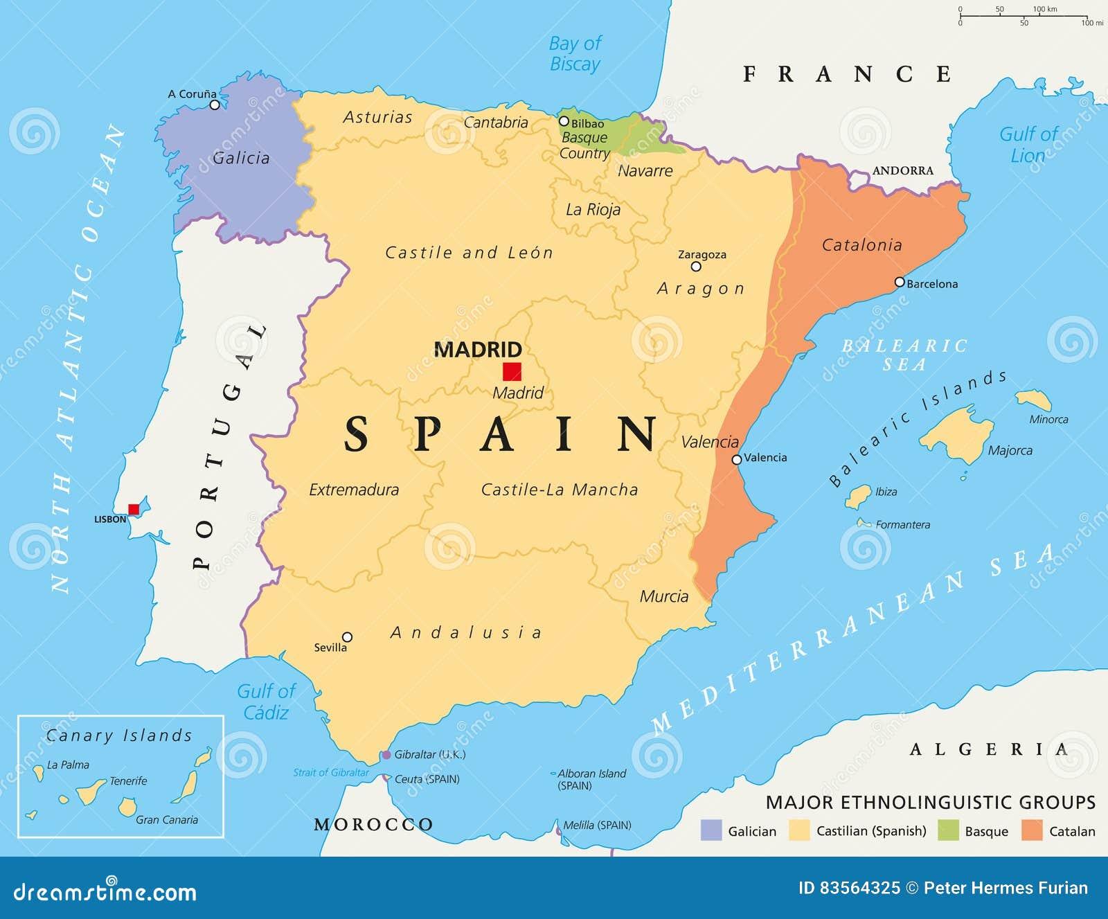 Cartina Della Spagna.Mappa Politica Delle Comunita Autonome Della Spagna
