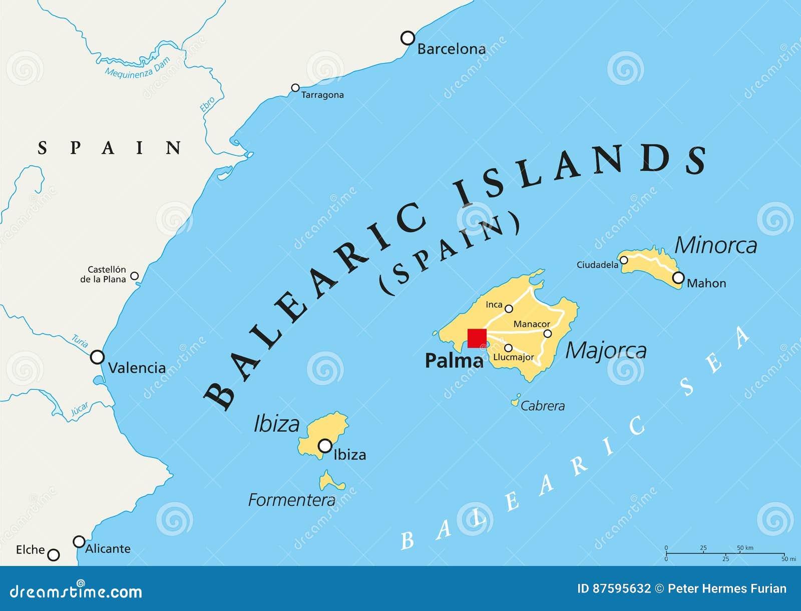 Cartina Spagna Isole Baleari.Mappa Politica Delle Isole Baleari Illustrazione Vettoriale Illustrazione Di Europa Terra 87595632
