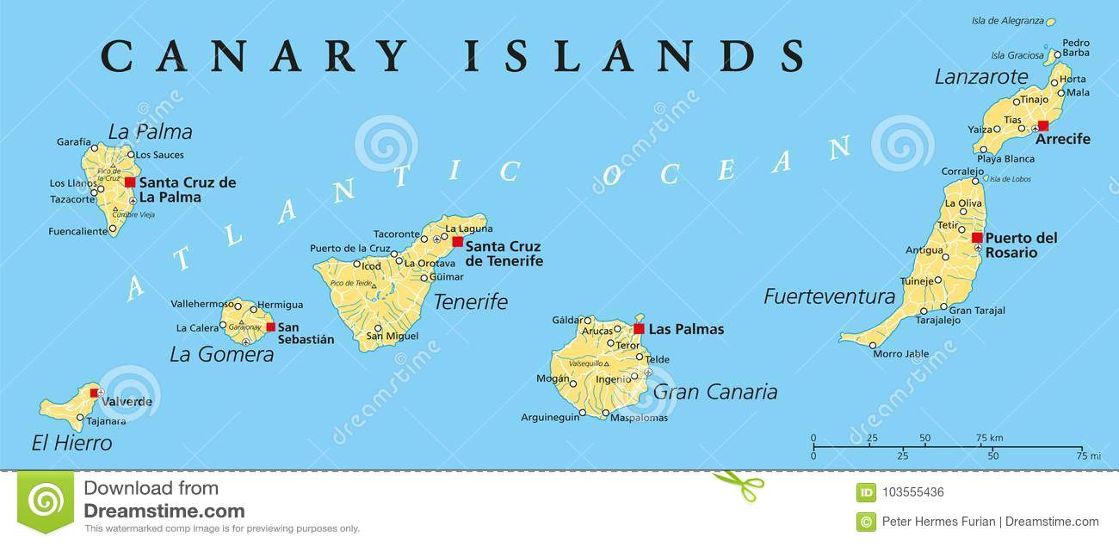 Isole Gran Canarie Cartina.Mappa Politica Delle Isole Canarie Illustrazione Vettoriale