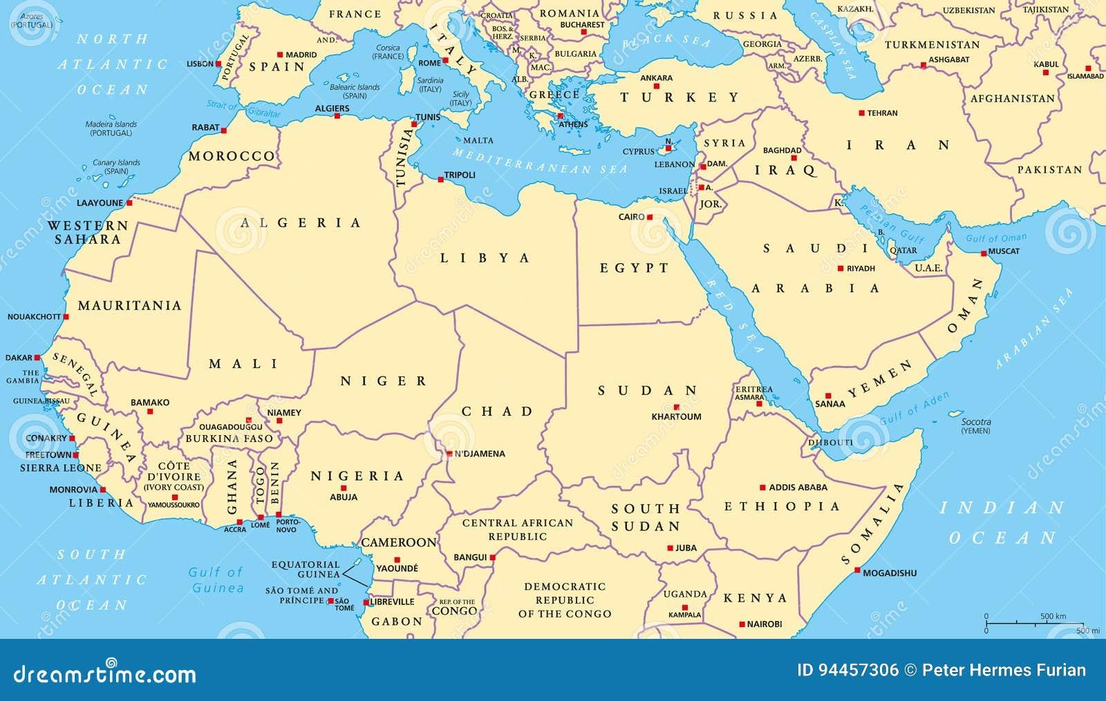 Cartina Mediterraneo orientale