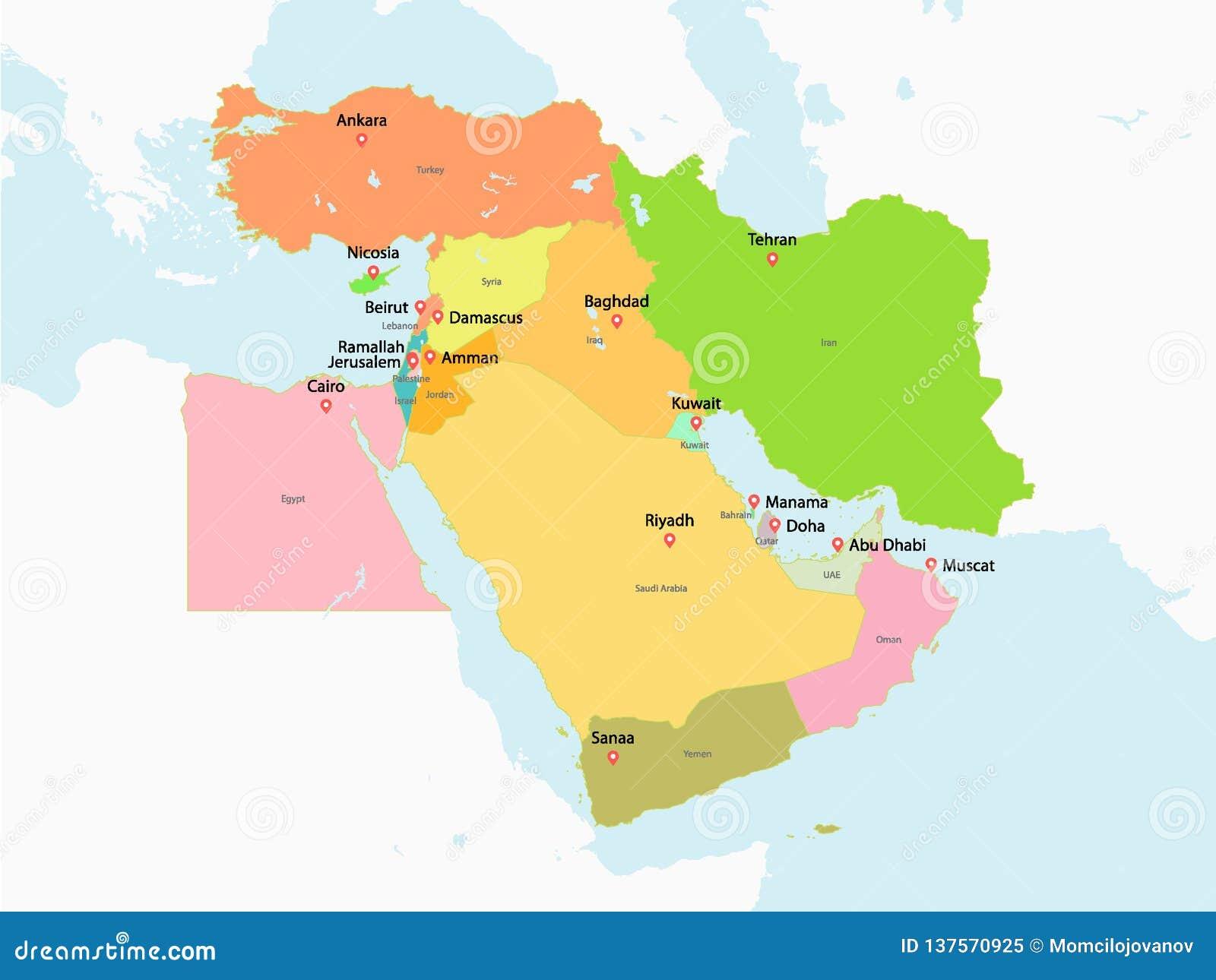Cartina Geopolitica Medio Oriente.Mappa Politica Di Medio Oriente Illustrazione Vettoriale Illustrazione Di Programma Cyprus 137570925