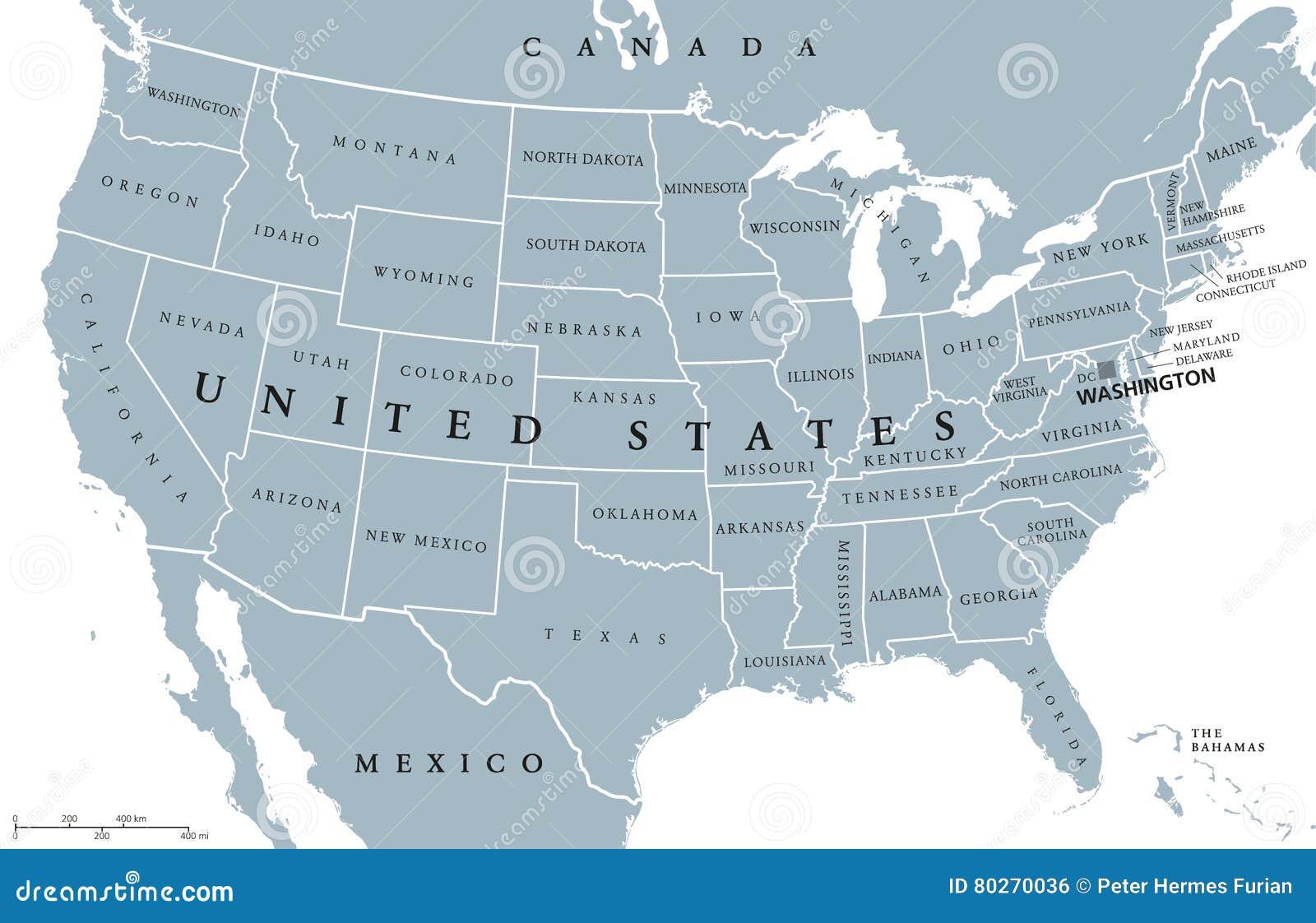 Cartina Stati Uniti D America Con Stati.Mappa Politica Di U S A Stati Uniti D America Illustrazione