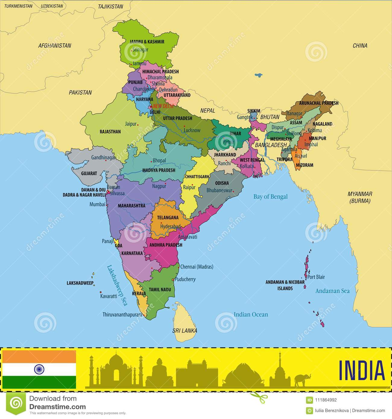Cartina India In Italiano.Mappa Politica Di Vettore Dell India Illustrazione