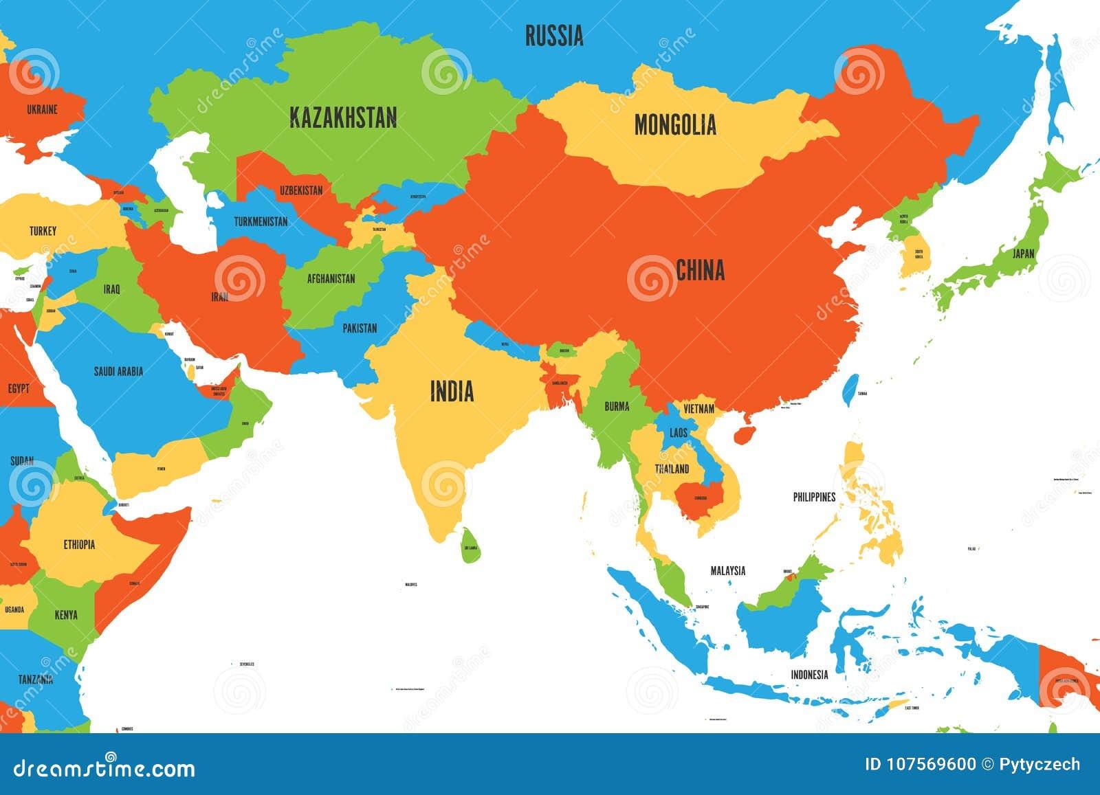 Cartina Dell Asia Orientale.Mappa Politica Variopinta Di Occidentale Di Del Sud E L Asia Orientale Illustrazione Piana Semplice Di Vettore Illustrazione Vettoriale Illustrazione Di Korea Internazionale 107569600