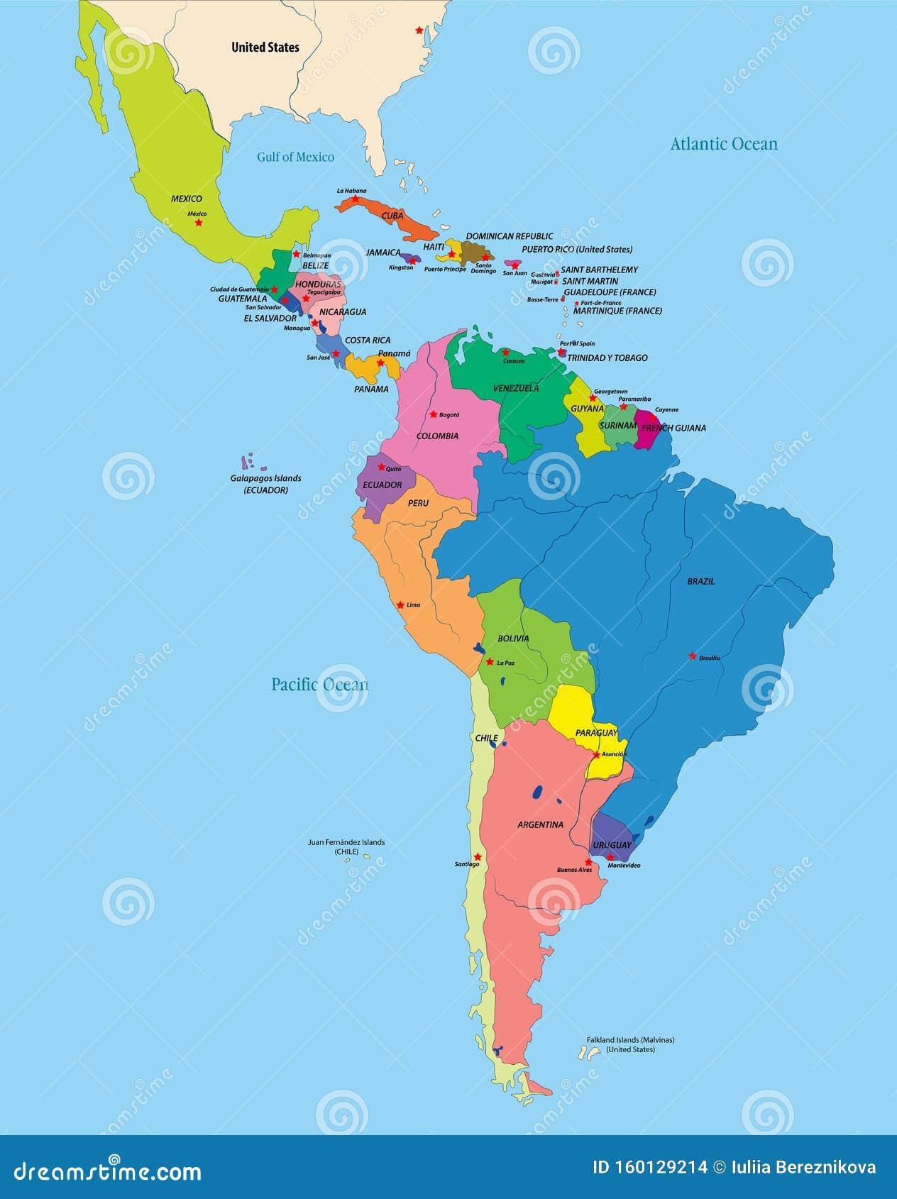 Cartina Fisica America Latina.Mappa Politica Vettoriale Dell America Latina Illustrazione Vettoriale Illustrazione Di Estratto Guiana 160129214