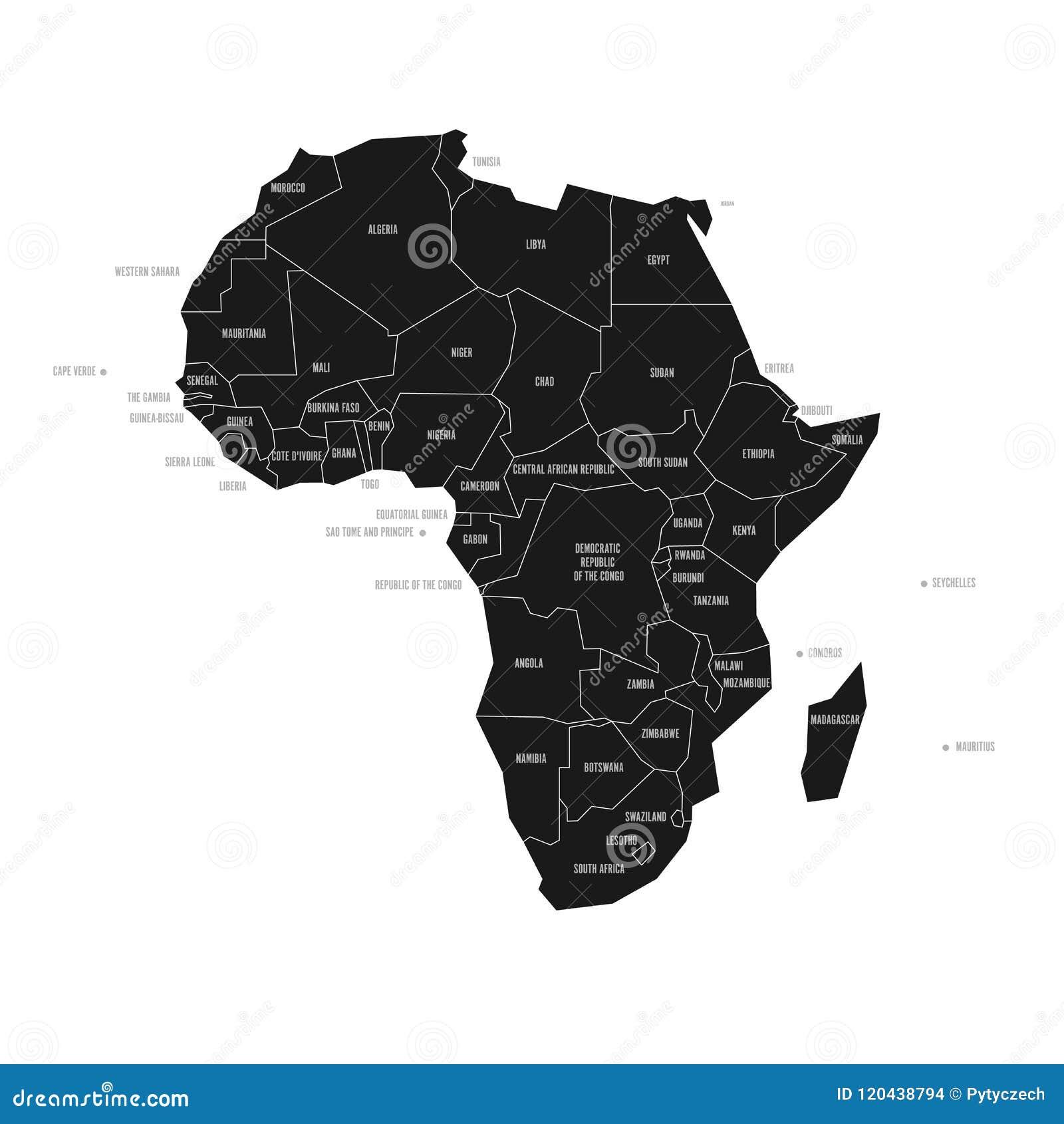 Cartina Dell Africa In Bianco E Nero.Mappa Schematica Semplificata Dell Africa Mappa Politica Di Vettore Nell Alto Contrasto Di In Bianco E Nero Illustrazione Vettoriale Illustrazione Di Concetto Naturalizzisi 120438794