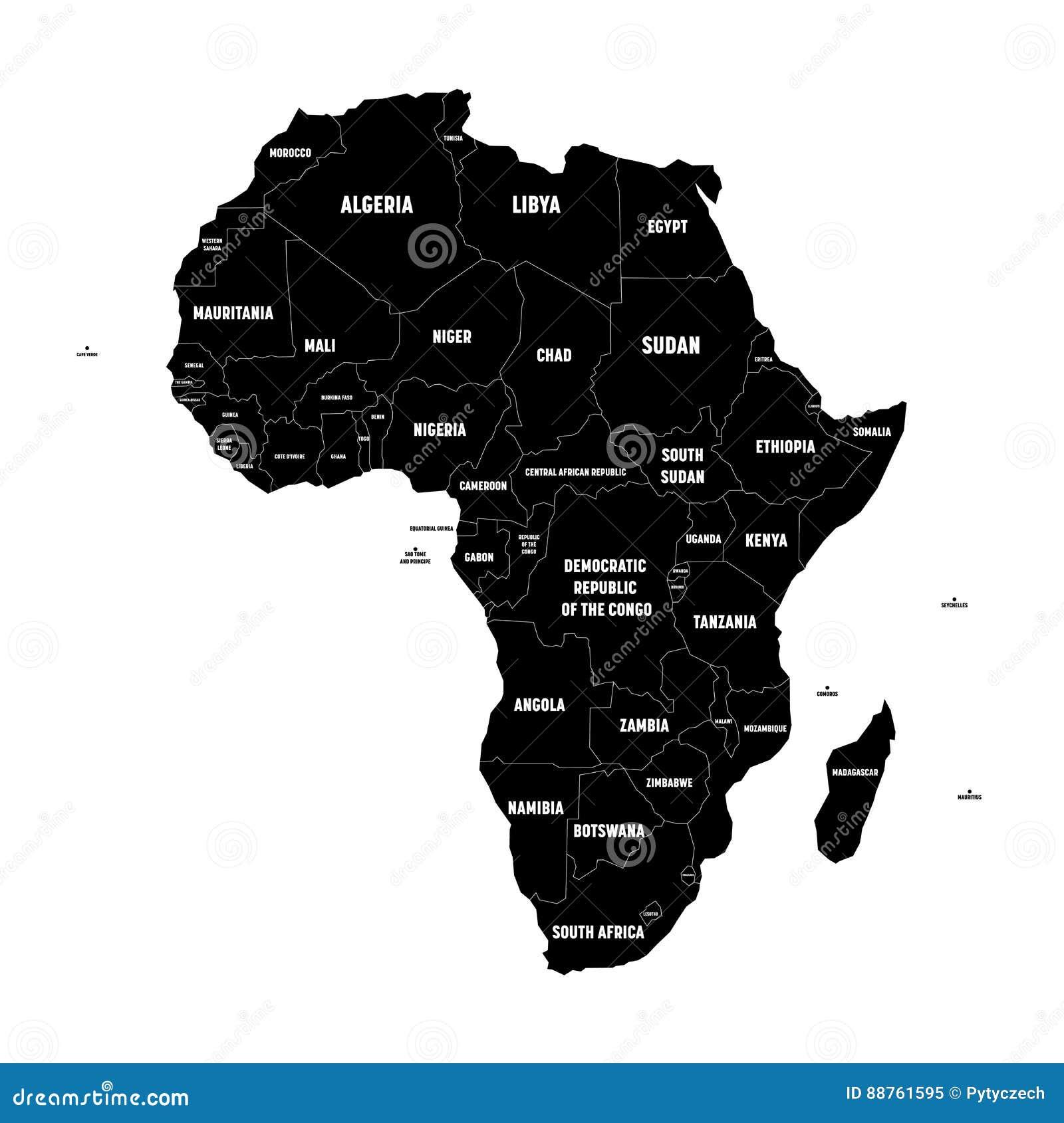 Cartina Dell Africa In Bianco E Nero.Mappa Semplice Del Nero Piano Del Continente Dell Africa Con Le Frontiere E Le Etichette Di Nome Di Paese Su Fondo Bianco Vettore Illustrazione Vettoriale Illustrazione Di Continente Nero 88761595