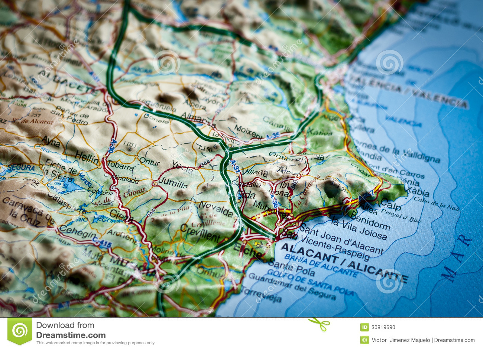 Cartina Geografica Spagna Costa Brava.Mappa Spagnola Di Costa Blanca Alicante Spagna Fotografia Stock Immagine Di Nessuno Geografico 30819690