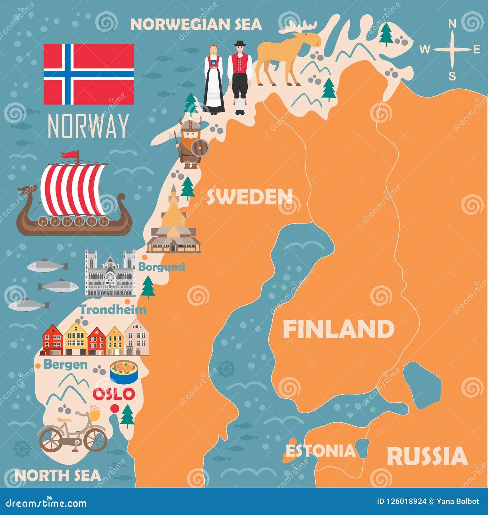 Cartina Norvegia Da Stampare.Mappa Stilizzata Della Norvegia Illustrazione Vettoriale Illustrazione Di Norway Contea 126018924