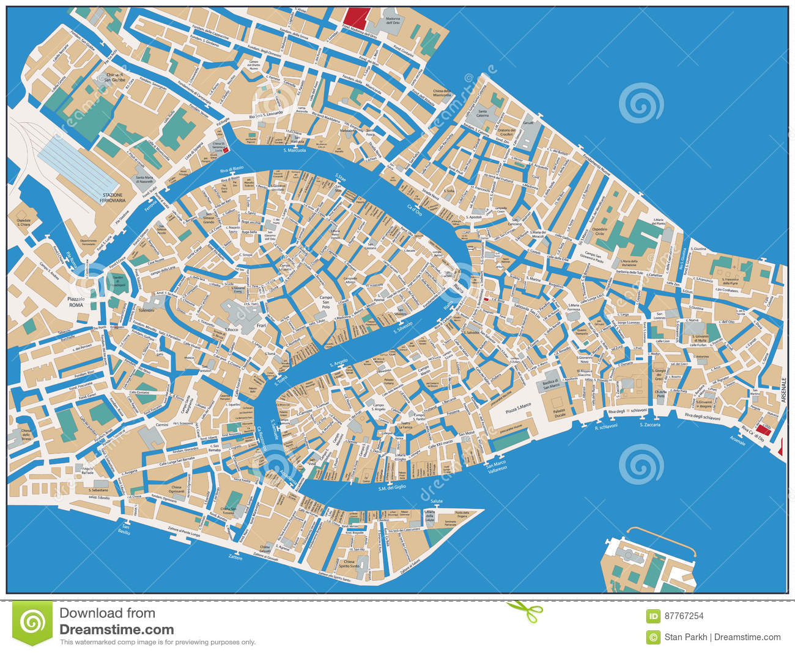 Cartina Stradale Venezia.Mappa Stradale Di Venezia Illustrazione Vettoriale Illustrazione Di Grafico 87767254