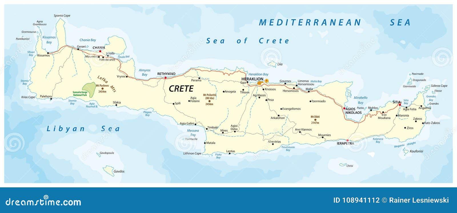 Cartina Geografica Dell Isola Di Creta.Mappa Stradale Di Vettore Dell Isola Mediterranea Greca Creta Illustrazione Vettoriale Illustrazione Di Strada Grafico 108941112