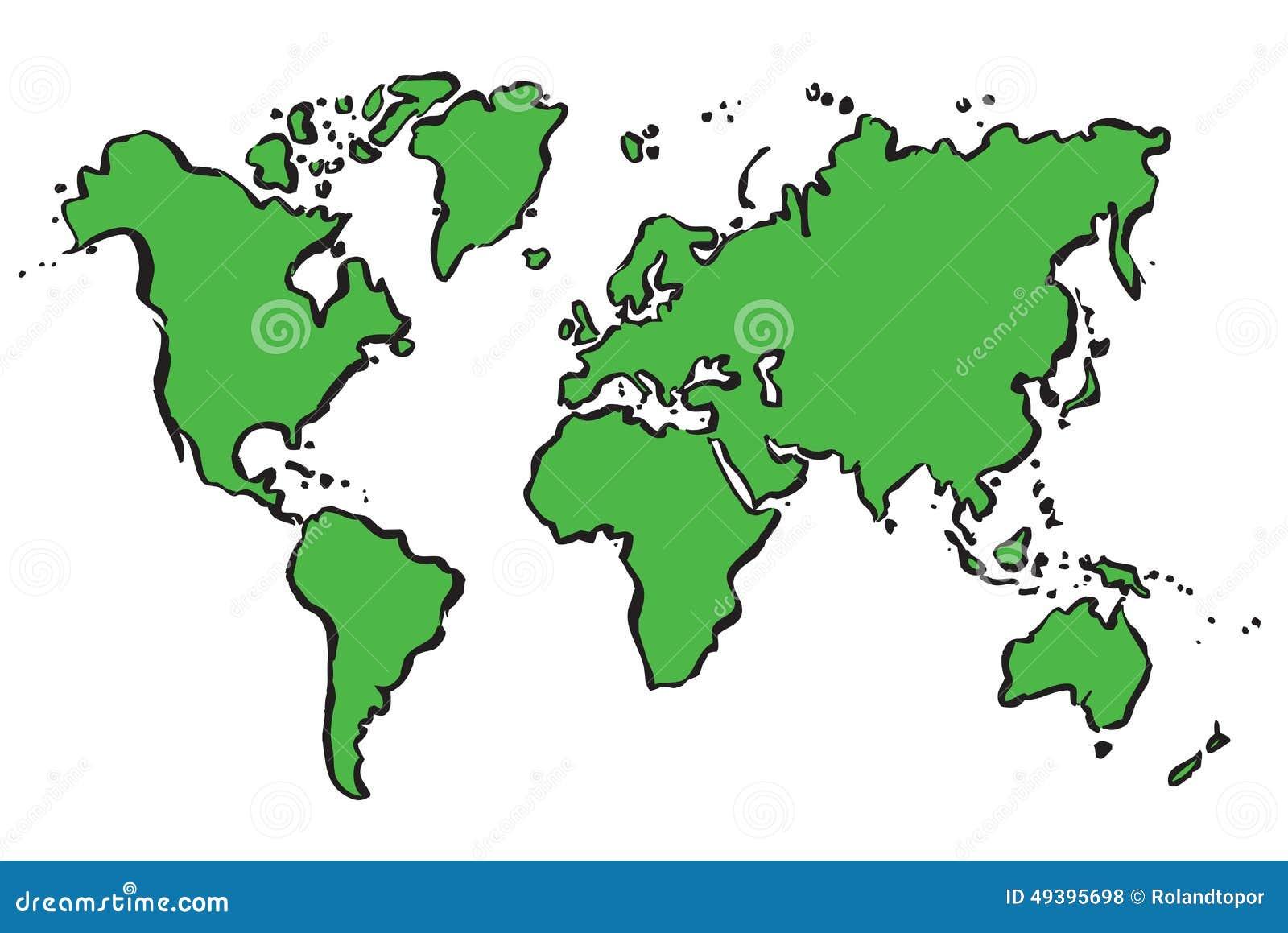 Mappa Verde Del Disegno Del Mondo Illustrazione Di Stock