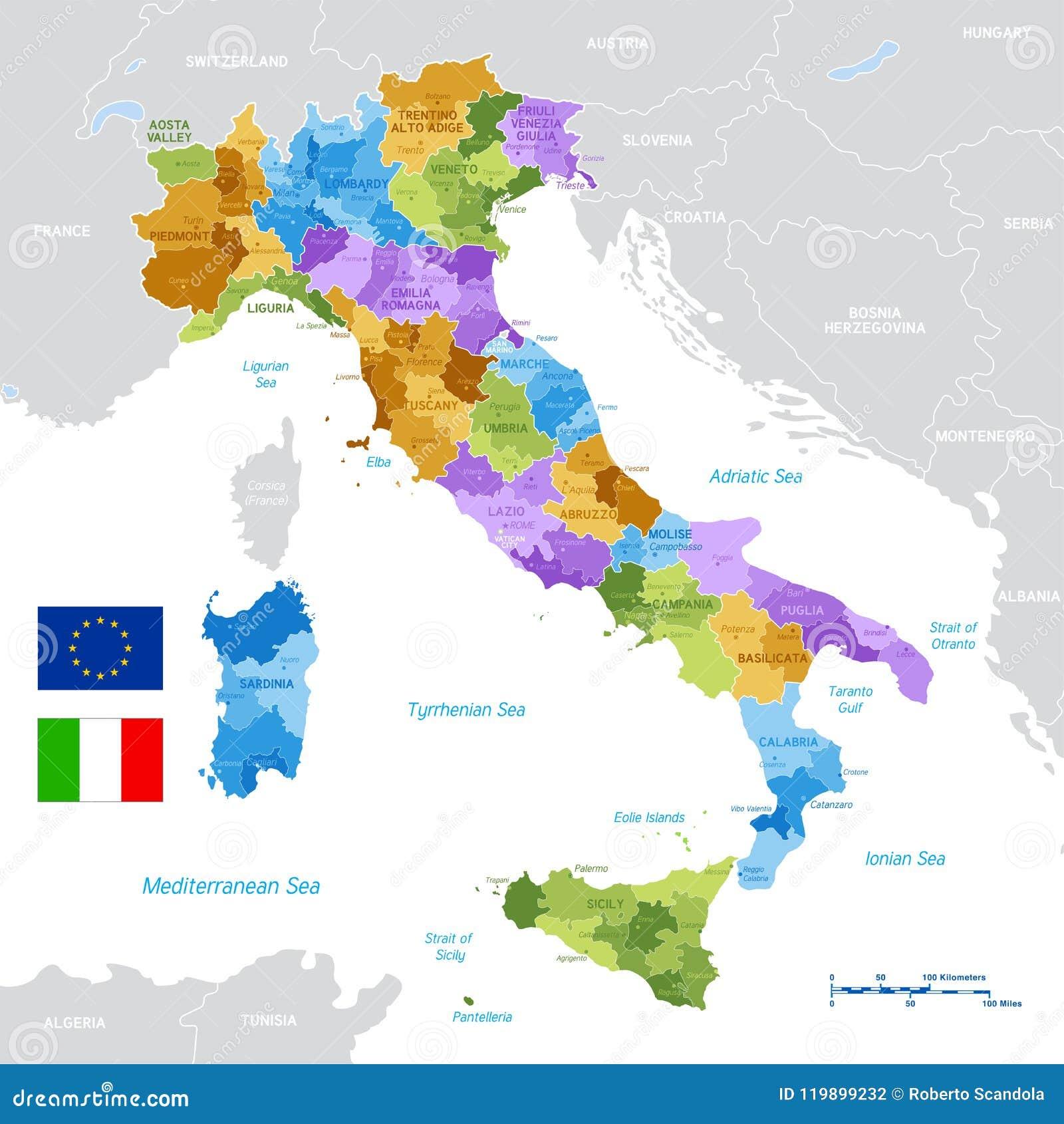 Cartina Russia Politica In Italiano.Mappa Verde Di Vettore Dell Italia Illustrazione Vettoriale