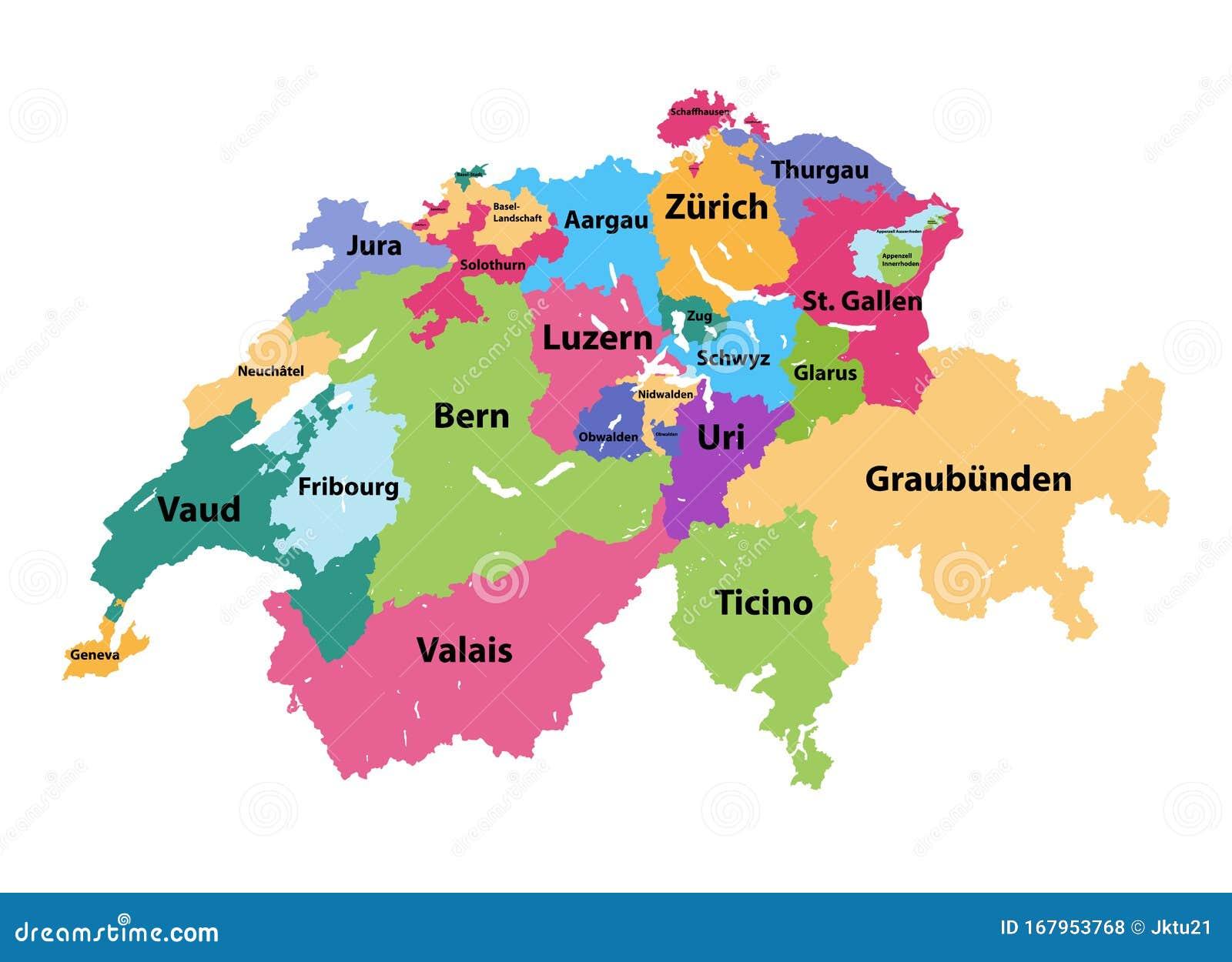 Cantoni Cartina Politica Svizzera.Mappa Vettoriale Della Svizzera Colorata Dai Cantoni Illustrazione Vettoriale Illustrazione Di Stampa Amministrativo 167953768