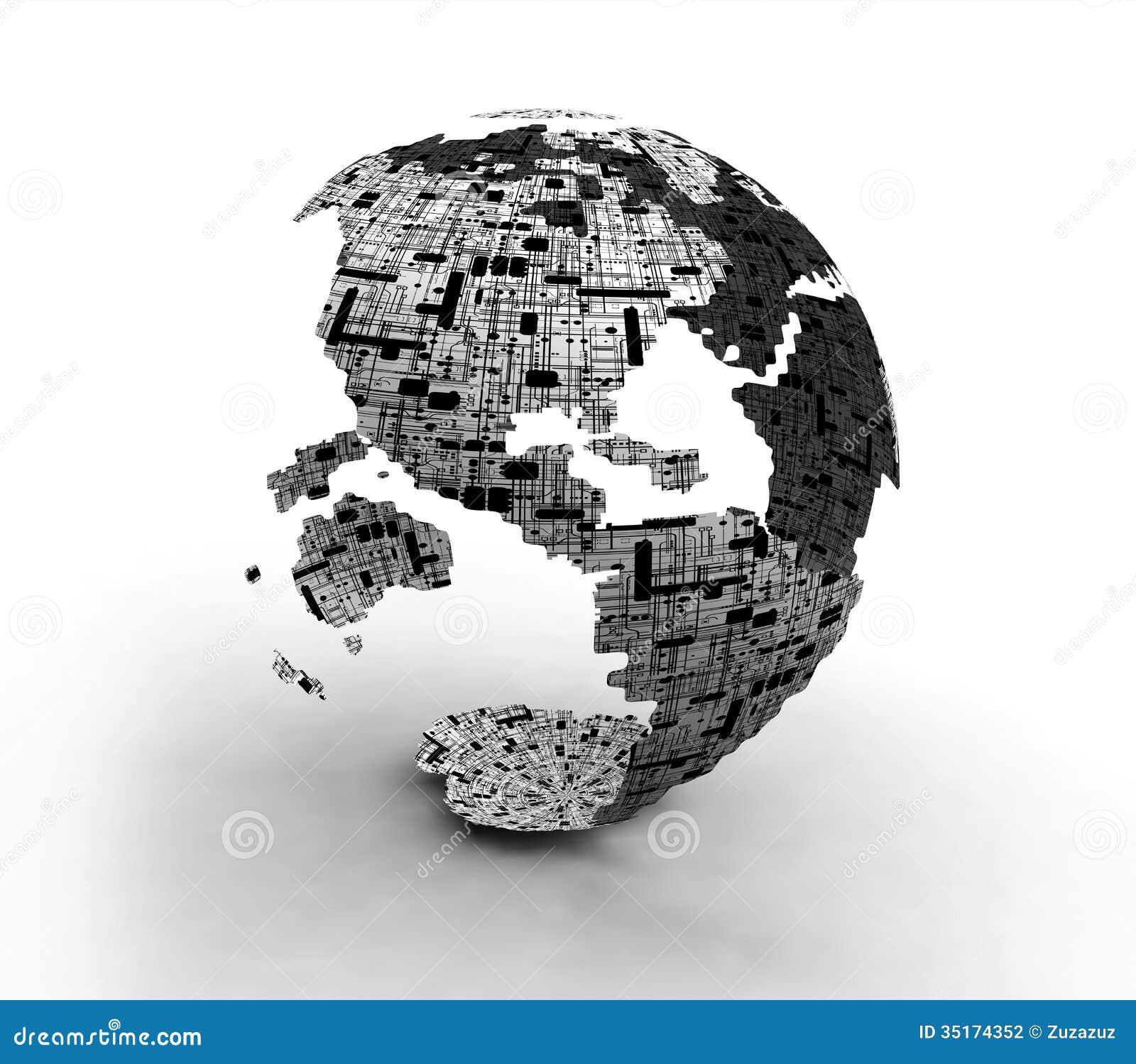 Mappe del globo di tecnologia del mondo