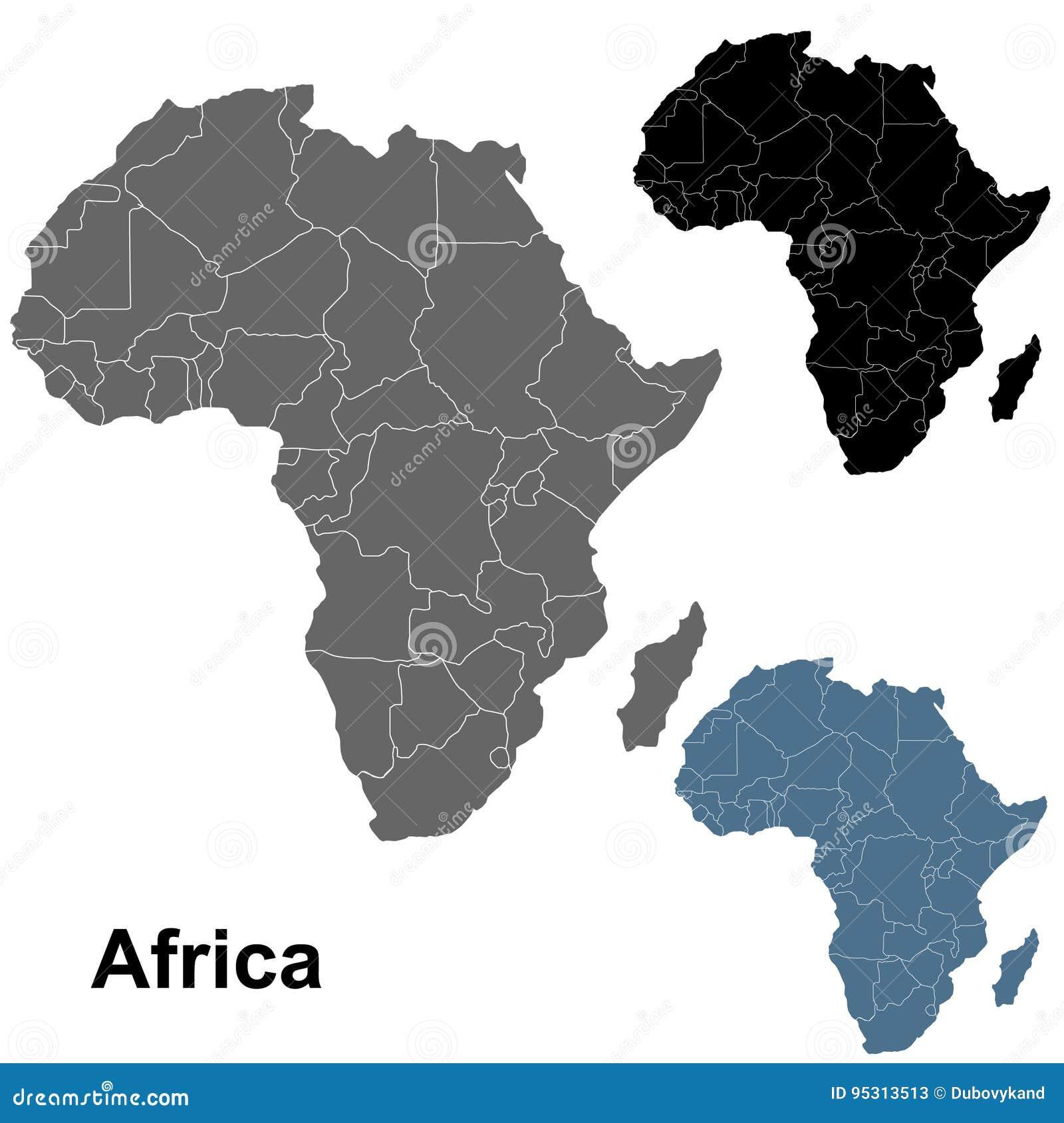 Cartina Dell Africa In Bianco E Nero.Mappe Dettagliate Del Profilo Dell Africa Nel Nero Nel Grey In Blu Illustrazione Vettoriale Illustrazione Di Africa Dettagliato 95313513