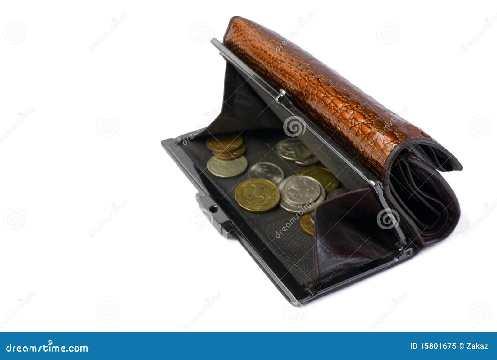 Mappe Mit Russischen Münzen Getrennt Stockbild Bild Von