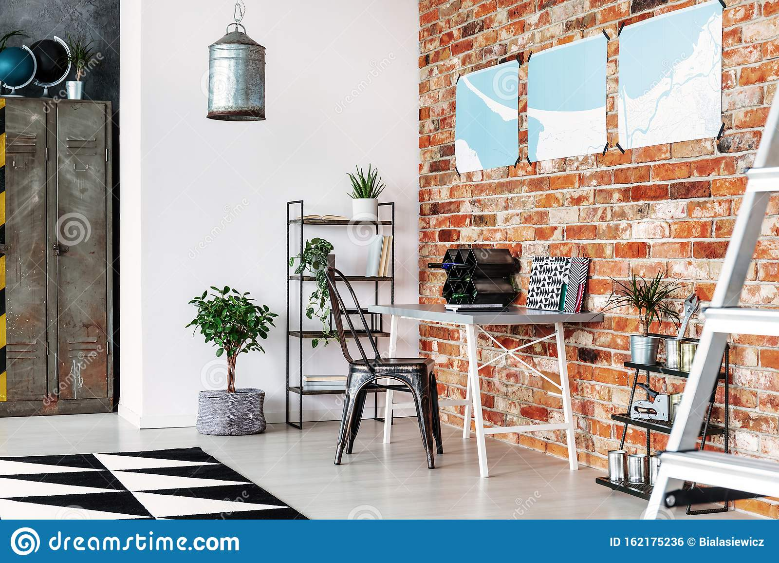 Maps On Brick Wall Of Industrial Home Office Stock Photo Image Of Rack Stylish 162175236