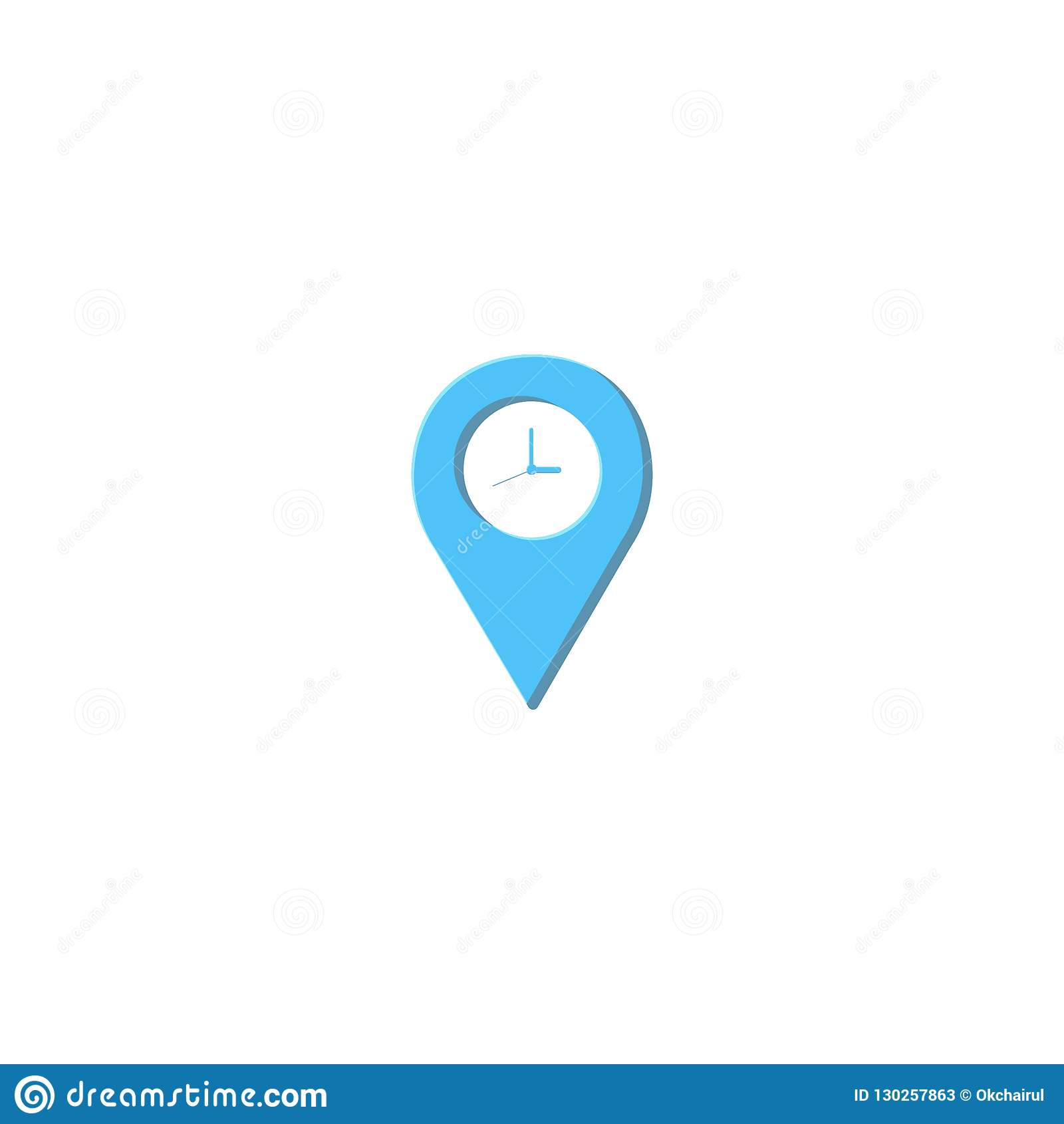 Maps And Clock Logo Design Symbol Dan Icon Vector Template Stock