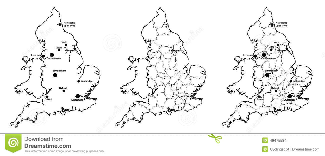 Map Of England Showing Major Cities.Maps Of England With And Without Counties And Major Cities Stock