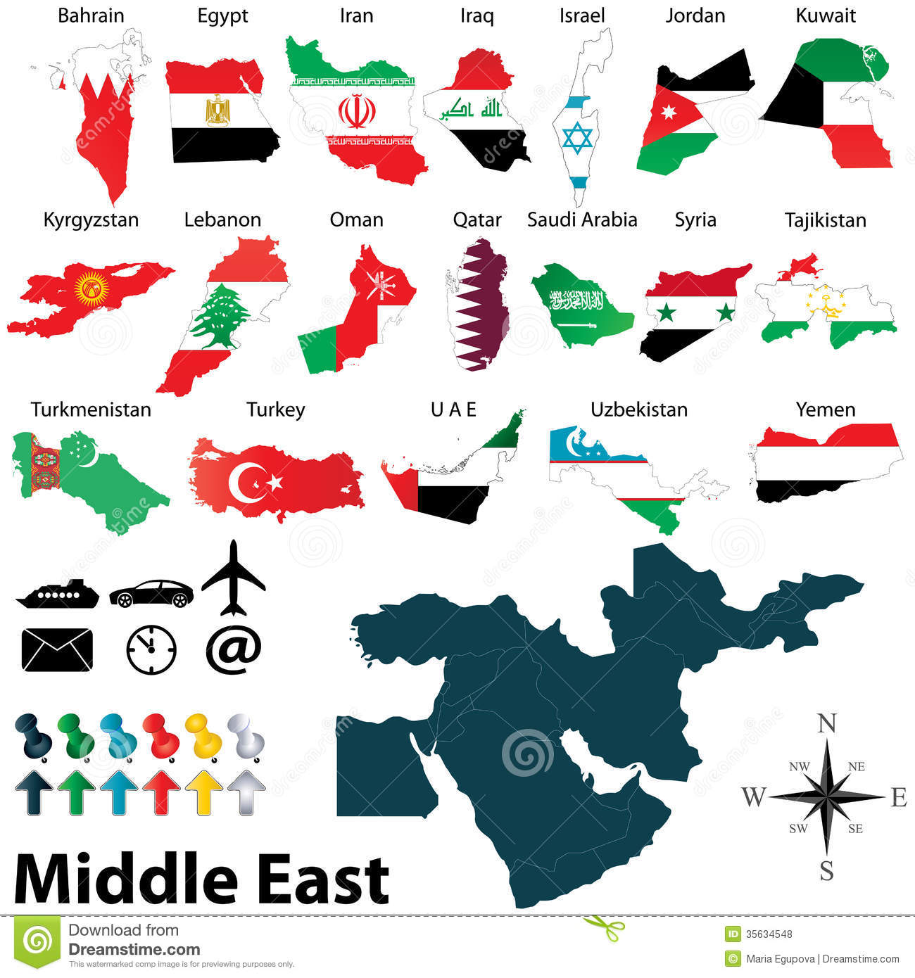 Maps of Middle East stock vector  Illustration of arab