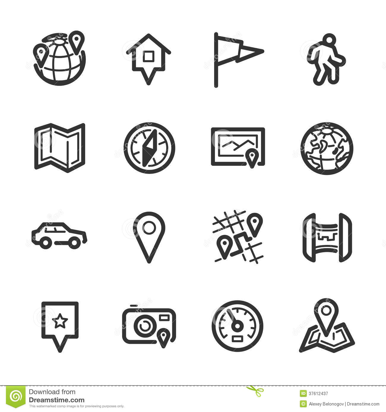 Maps and navigation icons – Bazza series