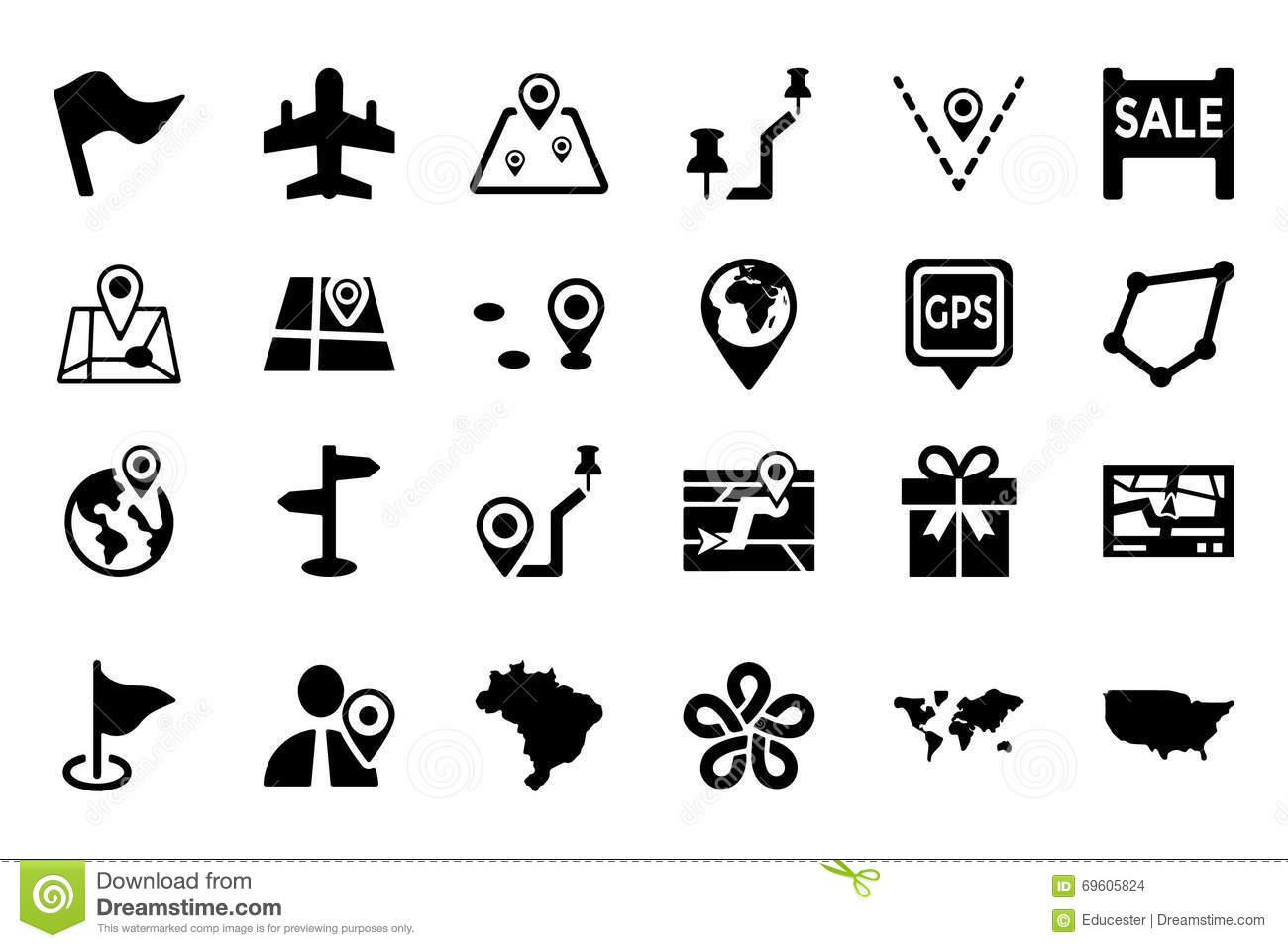 Maps And Navigation Vector Icons 5 Stock Illustration ...