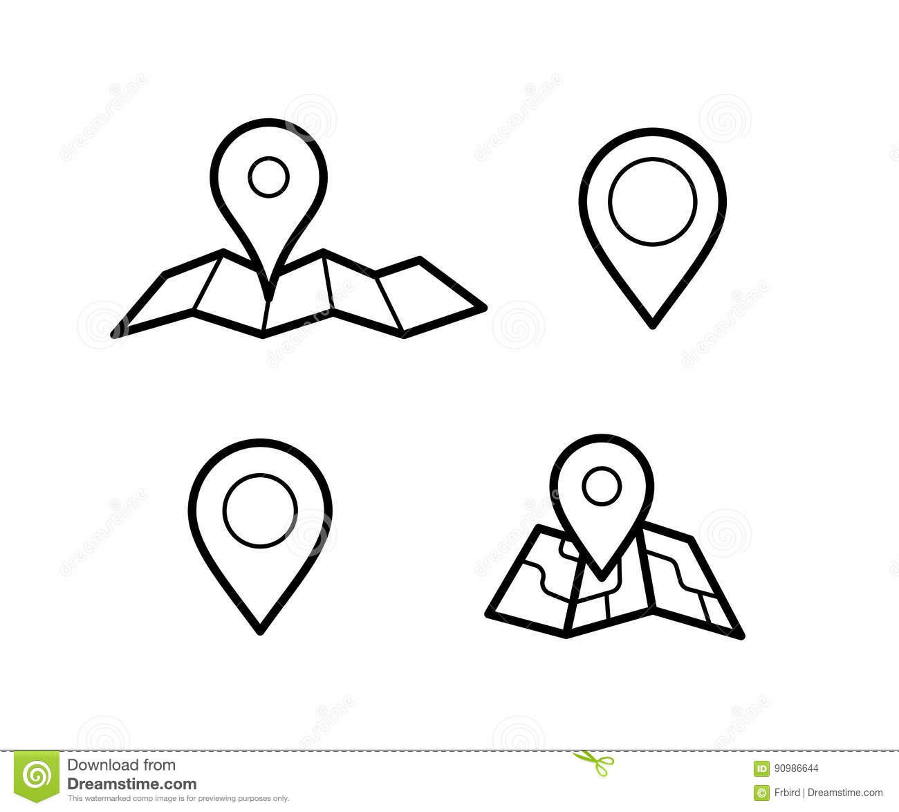 Maps And Pins Icons Stock Vector Illustration Of Symbol 90986644