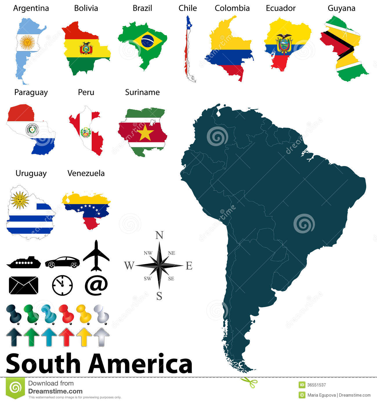 Vector Map Of South America With Flags Stock Vector Image - South america map and flags