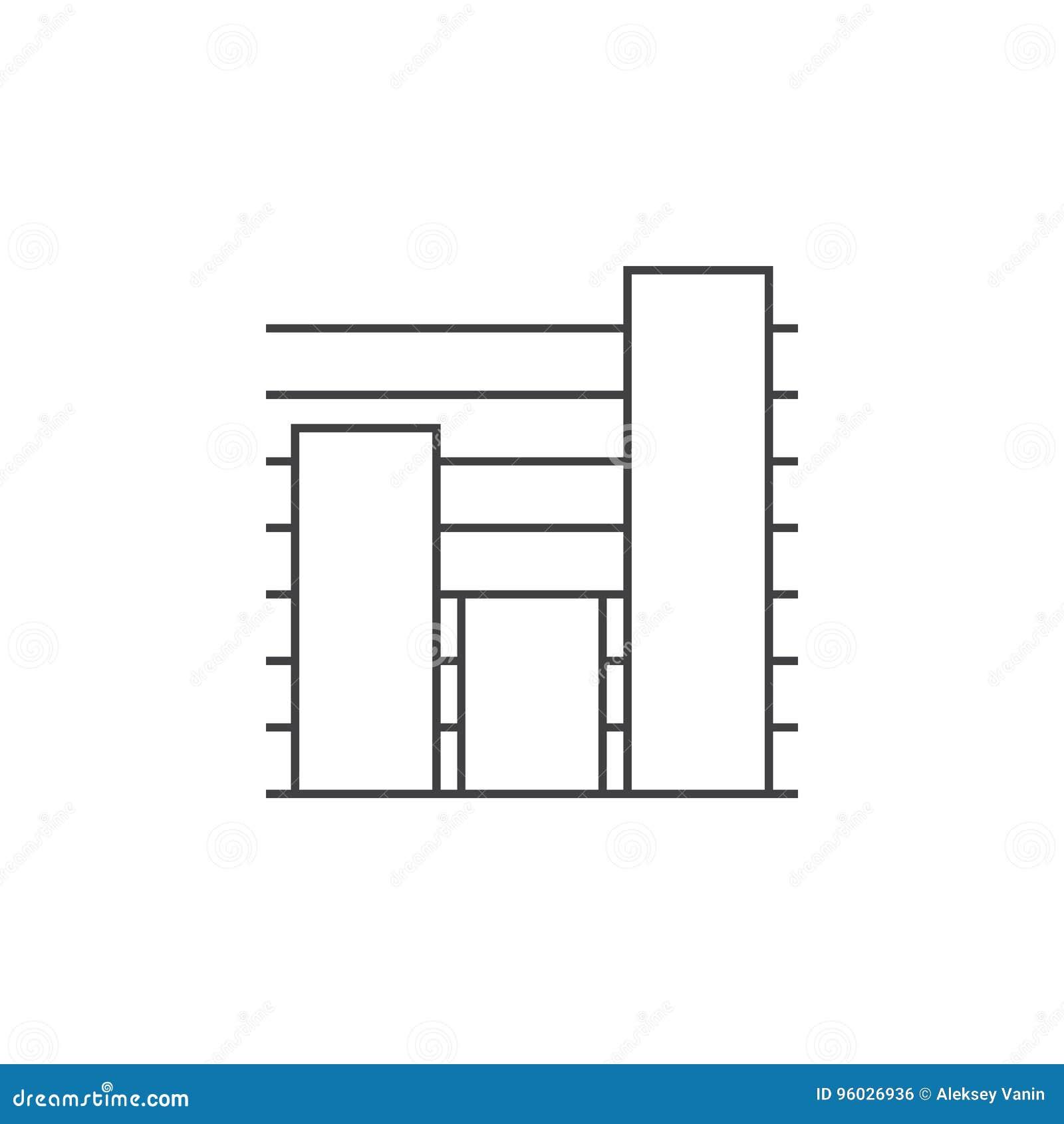 Mapy cienka kreskowa ikona, wykresu konturu loga wektorowa ilustracja, li
