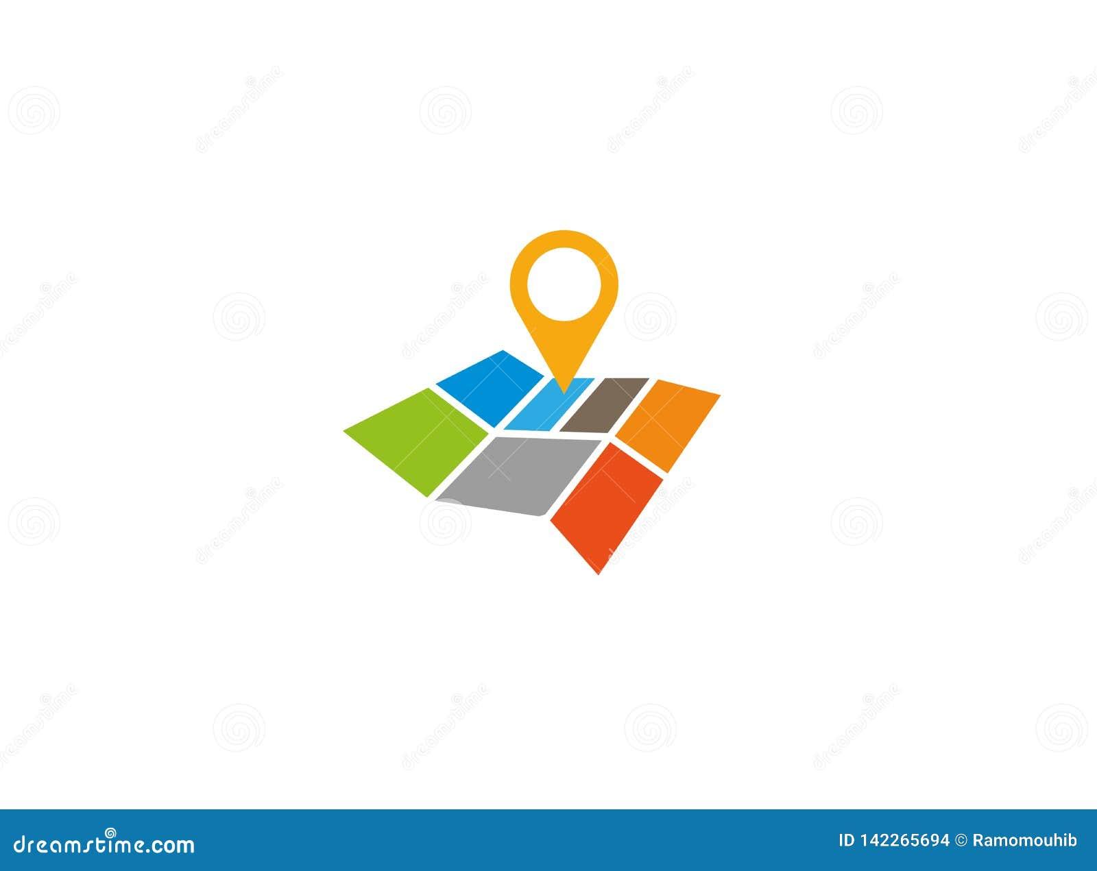 Mapy drogowej szpilka pointer z mapy samochodowej pozycją dla logo