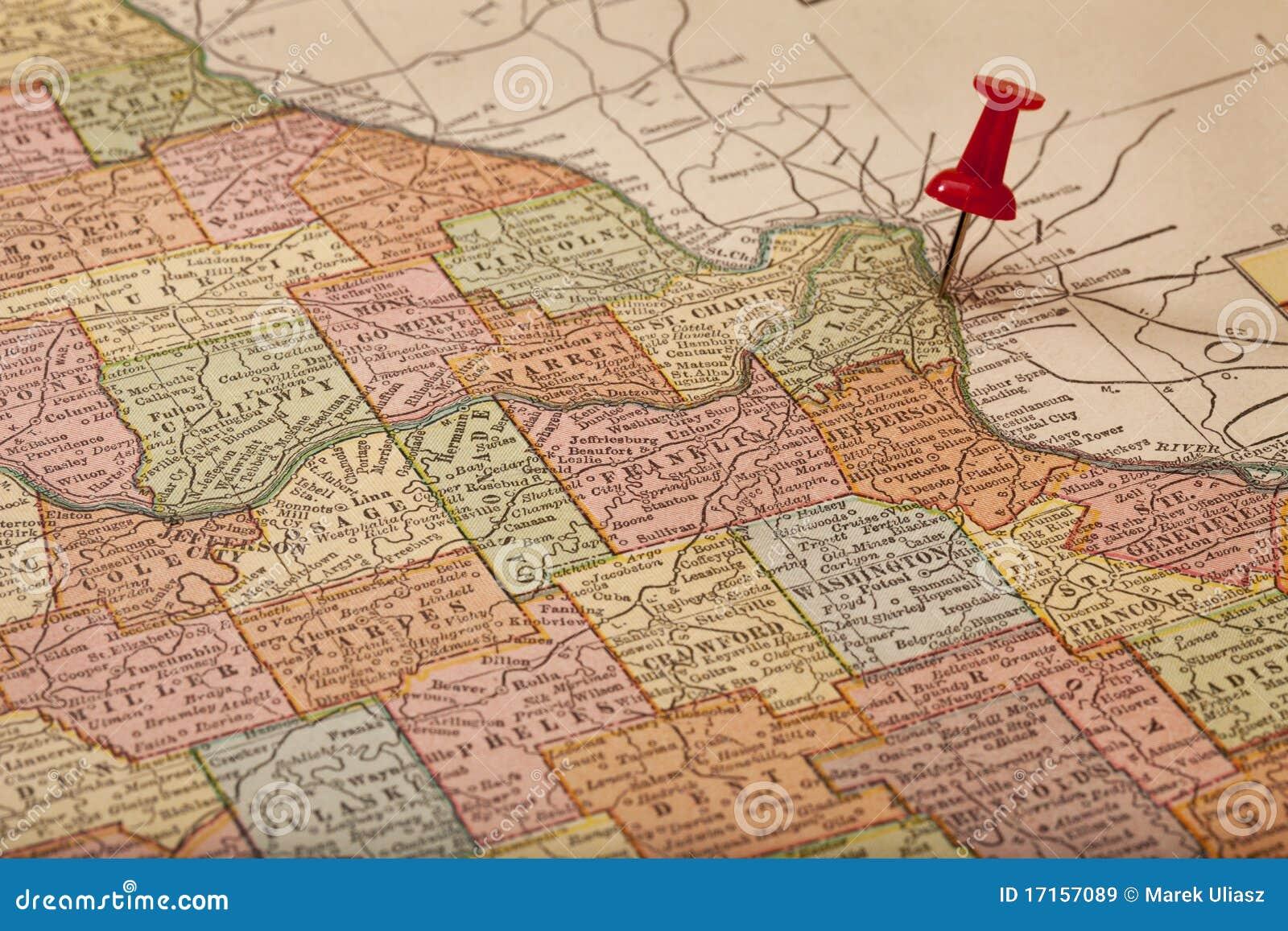Mapy Mississippi Missouri rzek rocznik