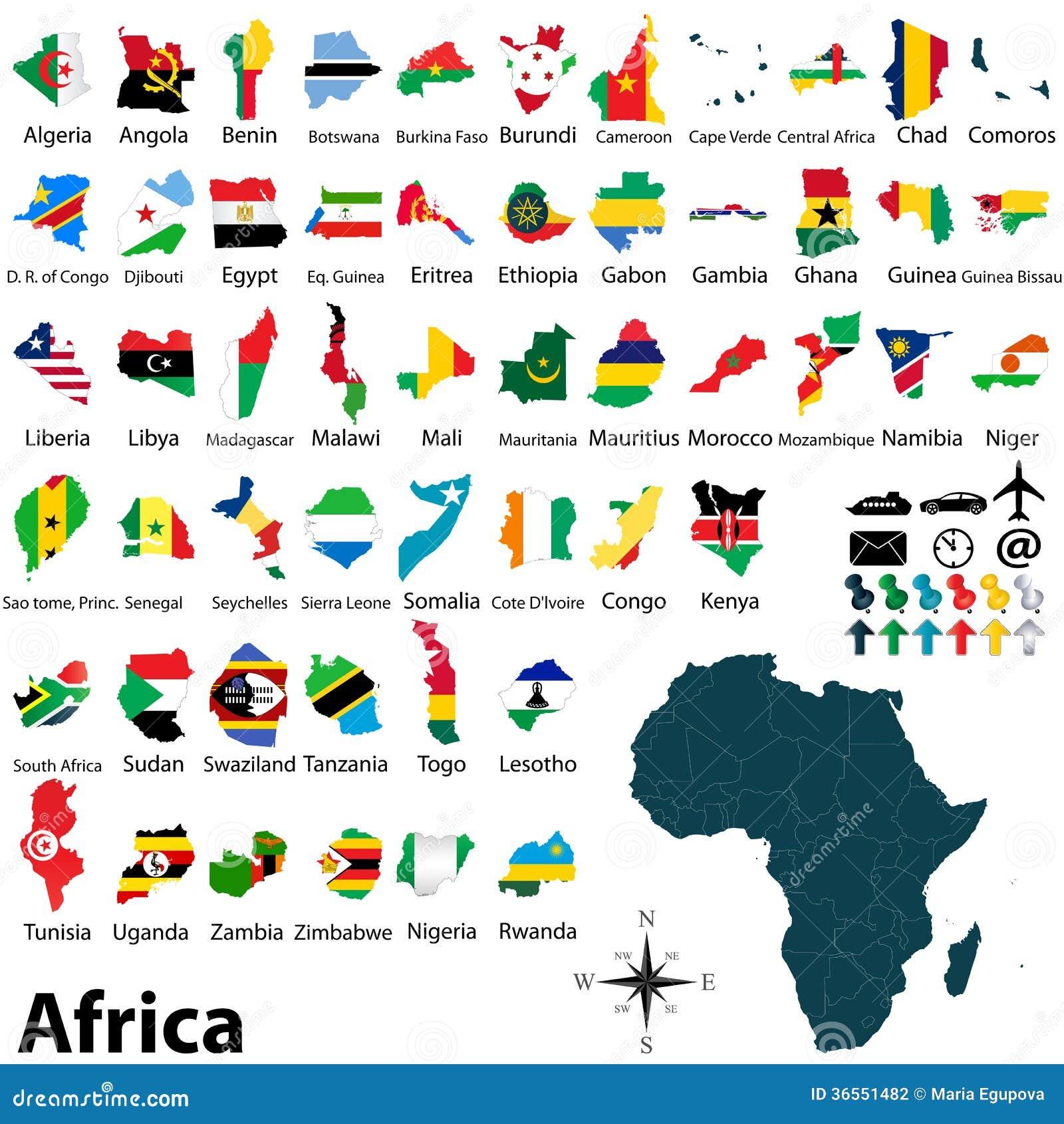 Mapy z flaga Afryka