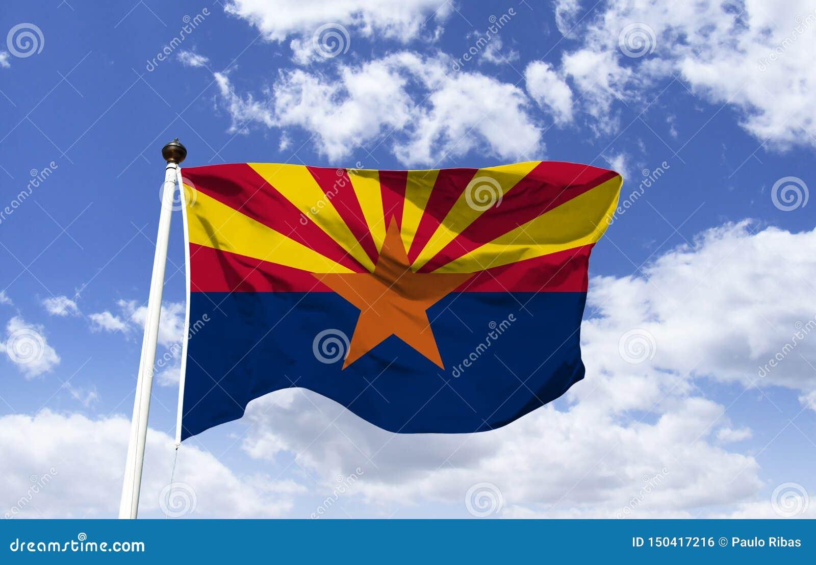 Maqueta de la bandera de Arizona en el viento