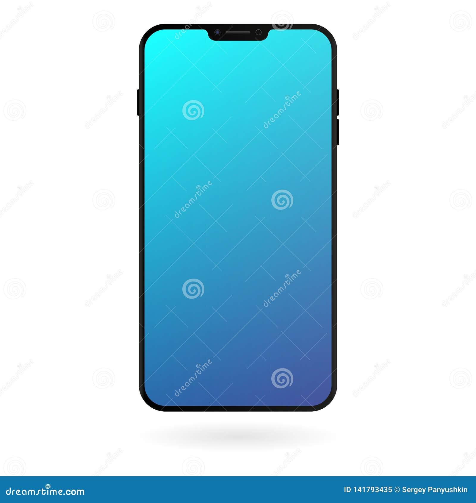 Maqueta de Smartphone con la pantalla azul de la pendiente en el fondo blanco Plantilla digital del artilugio del color negro