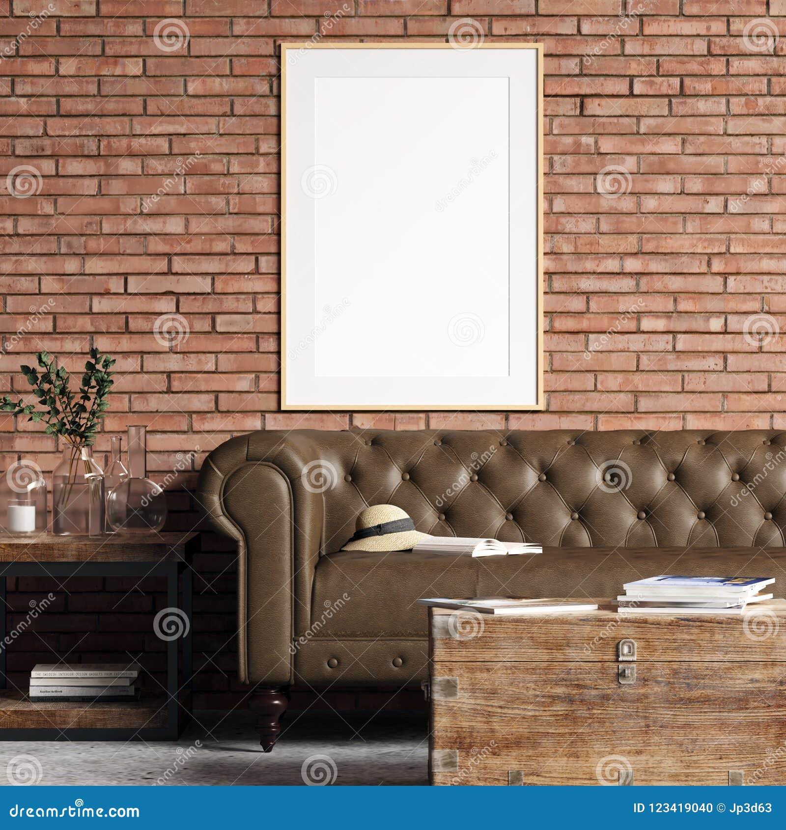 Maqueta del cartel en interior con la pared de ladrillo