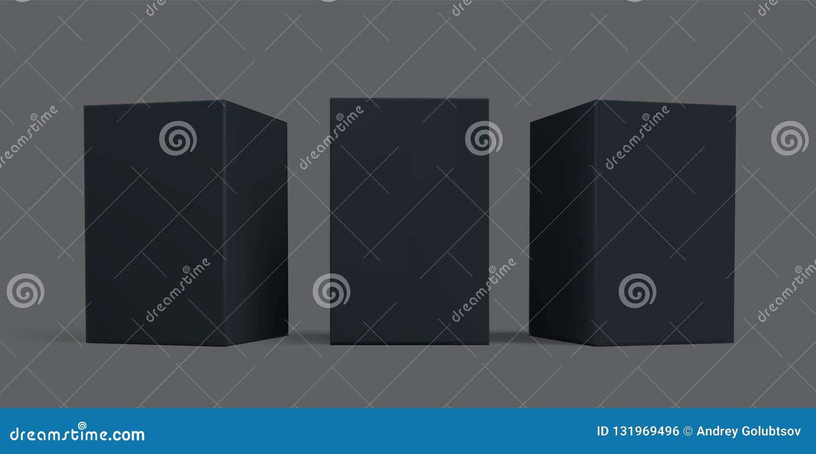 Maqueta del paquete de Black Box Cajas del paquete de la cartulina o del papel del cartón del negro del vector, plantillas aislad