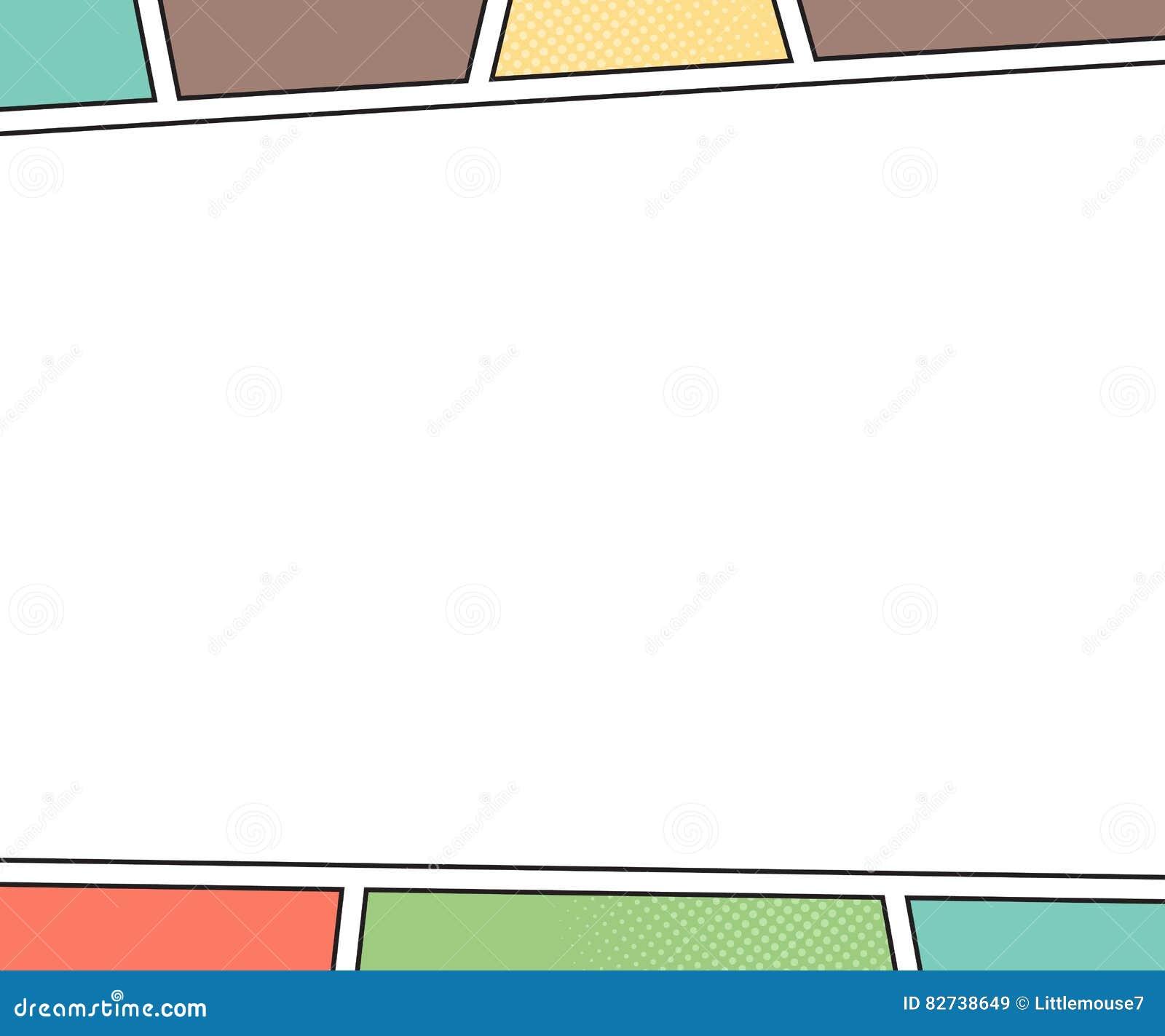 Maqueta del vector de la página del cómic estilo del arte pop