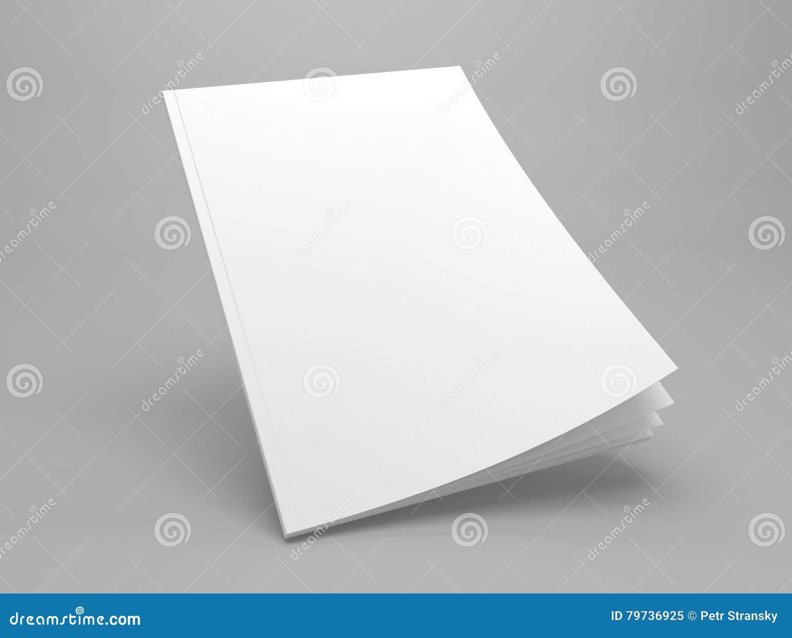 Maqueta derecha del ejemplo de la revista 3D de la cubierta en blanco
