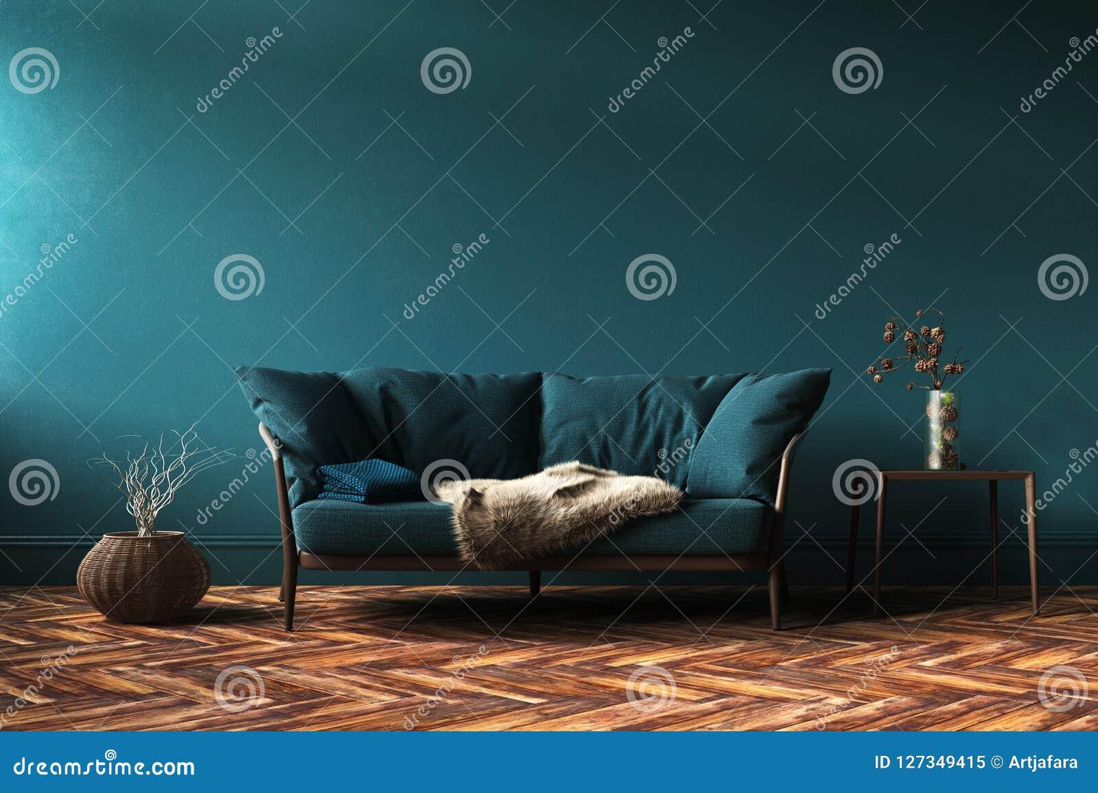 Maqueta interior casera con el sofá, la tabla y la decoración verdes en sala de estar