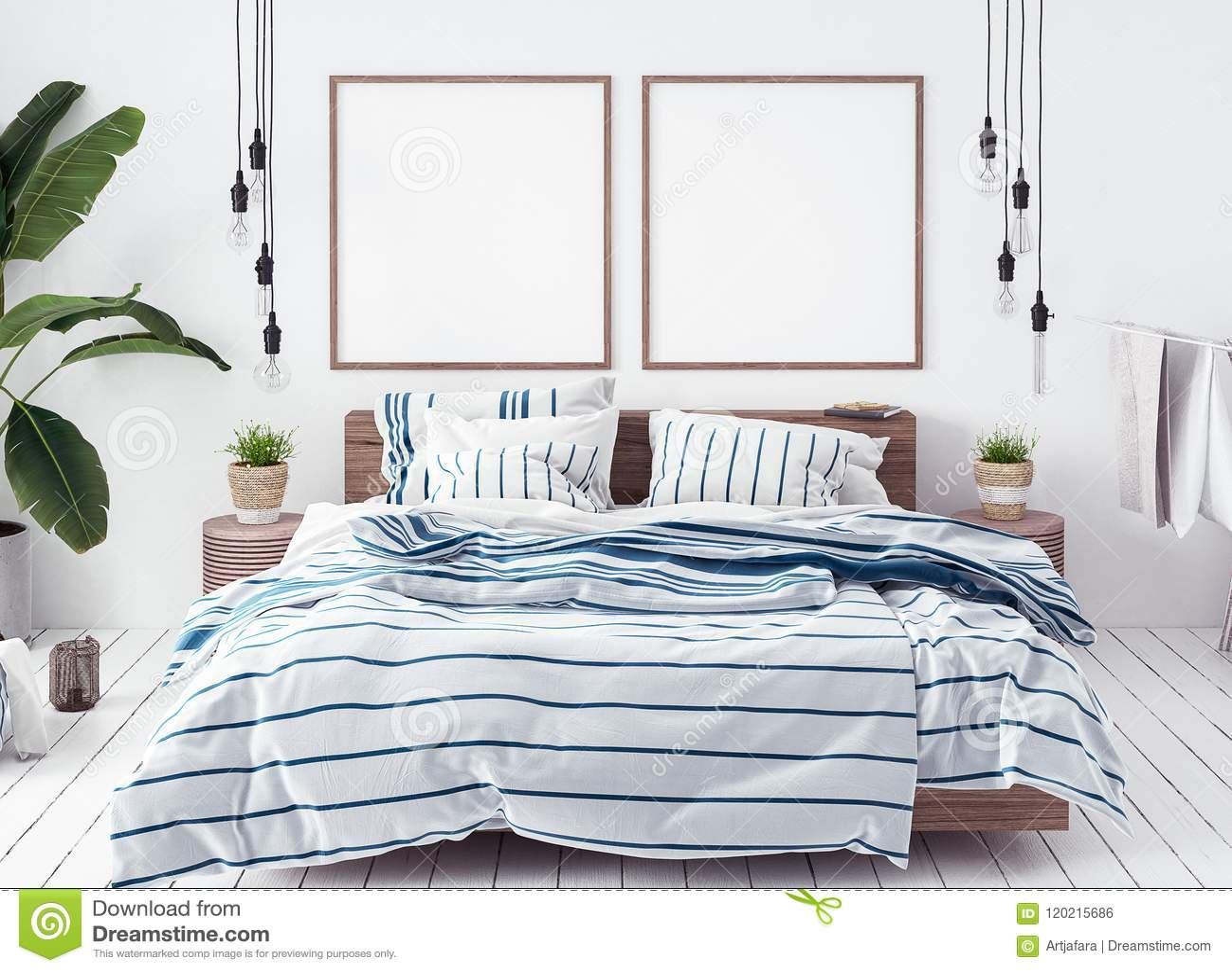 Maquette d affiches dans la nouvelle chambre à coucher scandinave de boho