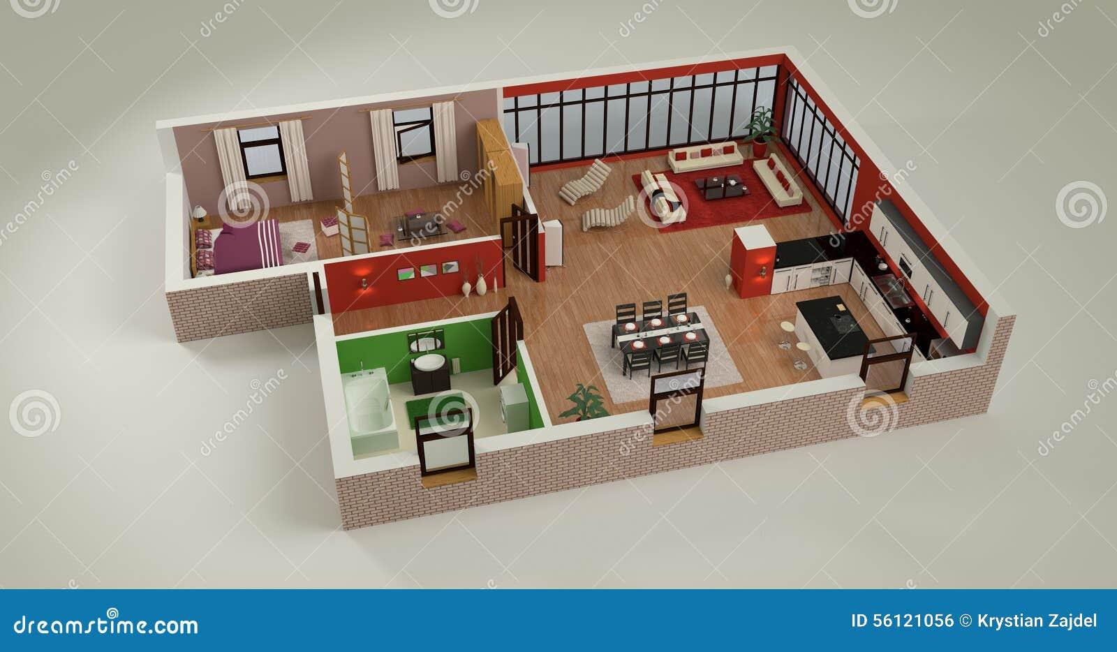 Chambre Simple Moderne : Maquette De Chambre Illustration Stock – Image: 56121056