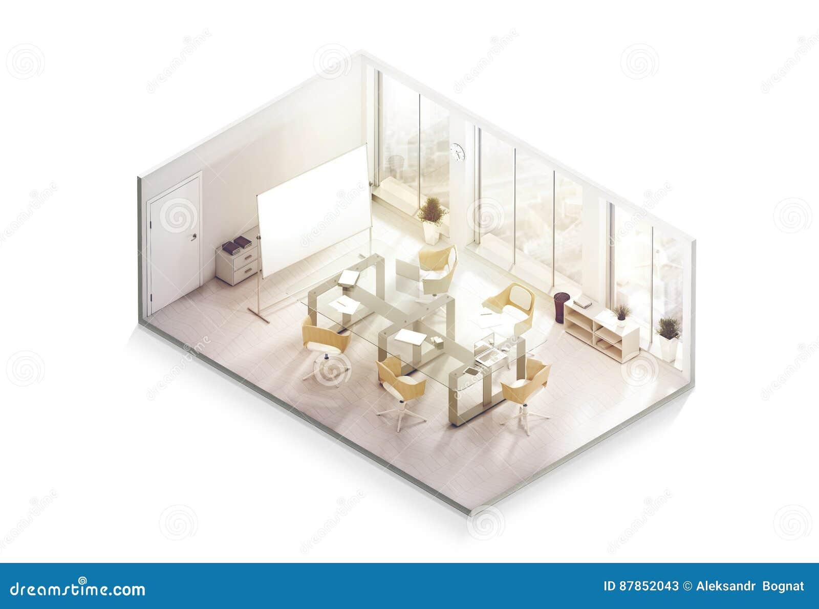 Maquette de conception intérieure de bureau à l intérieur, vue isométrique