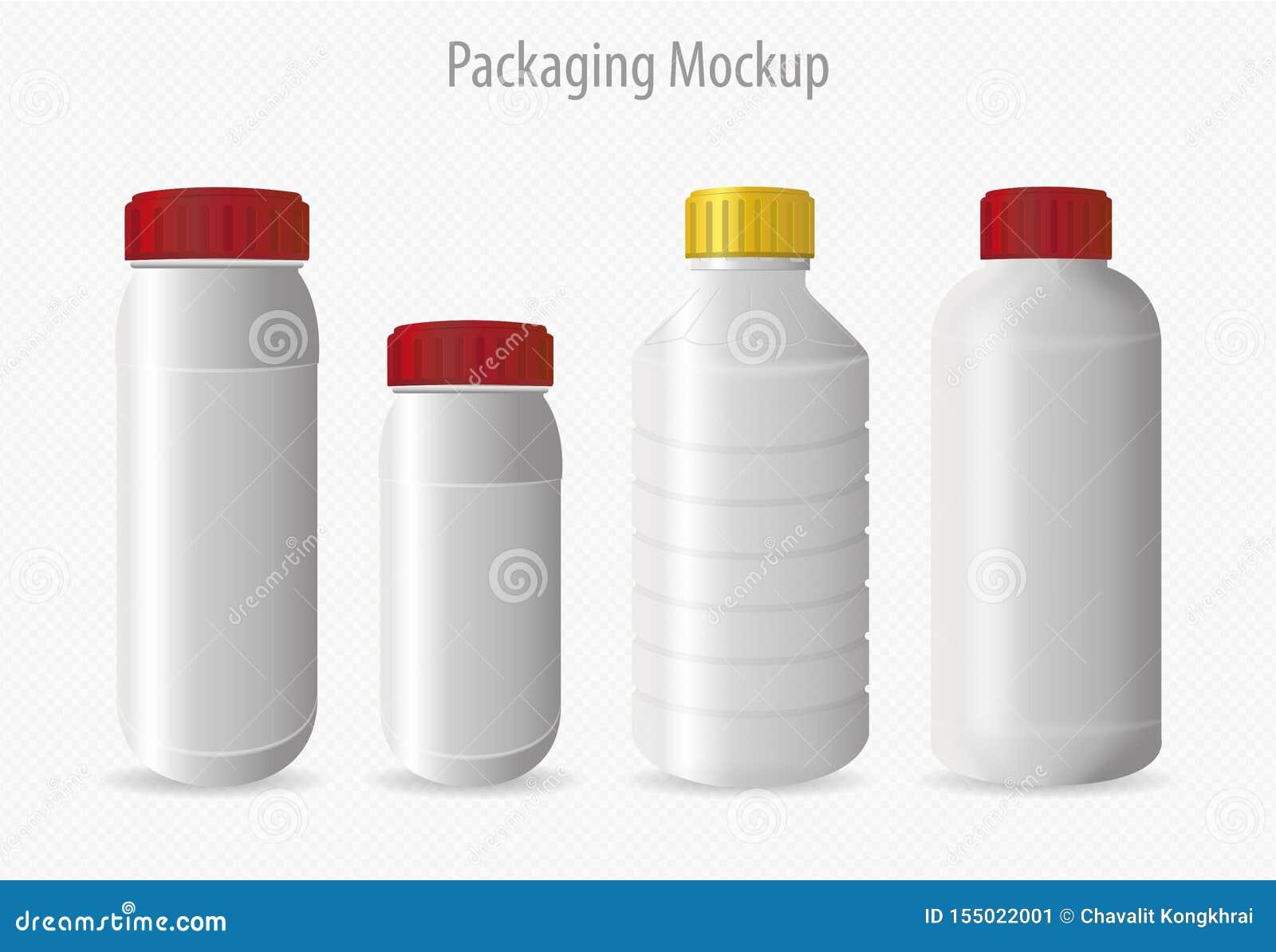 Maquette de empaquetage de récipient en plastique de bouteille
