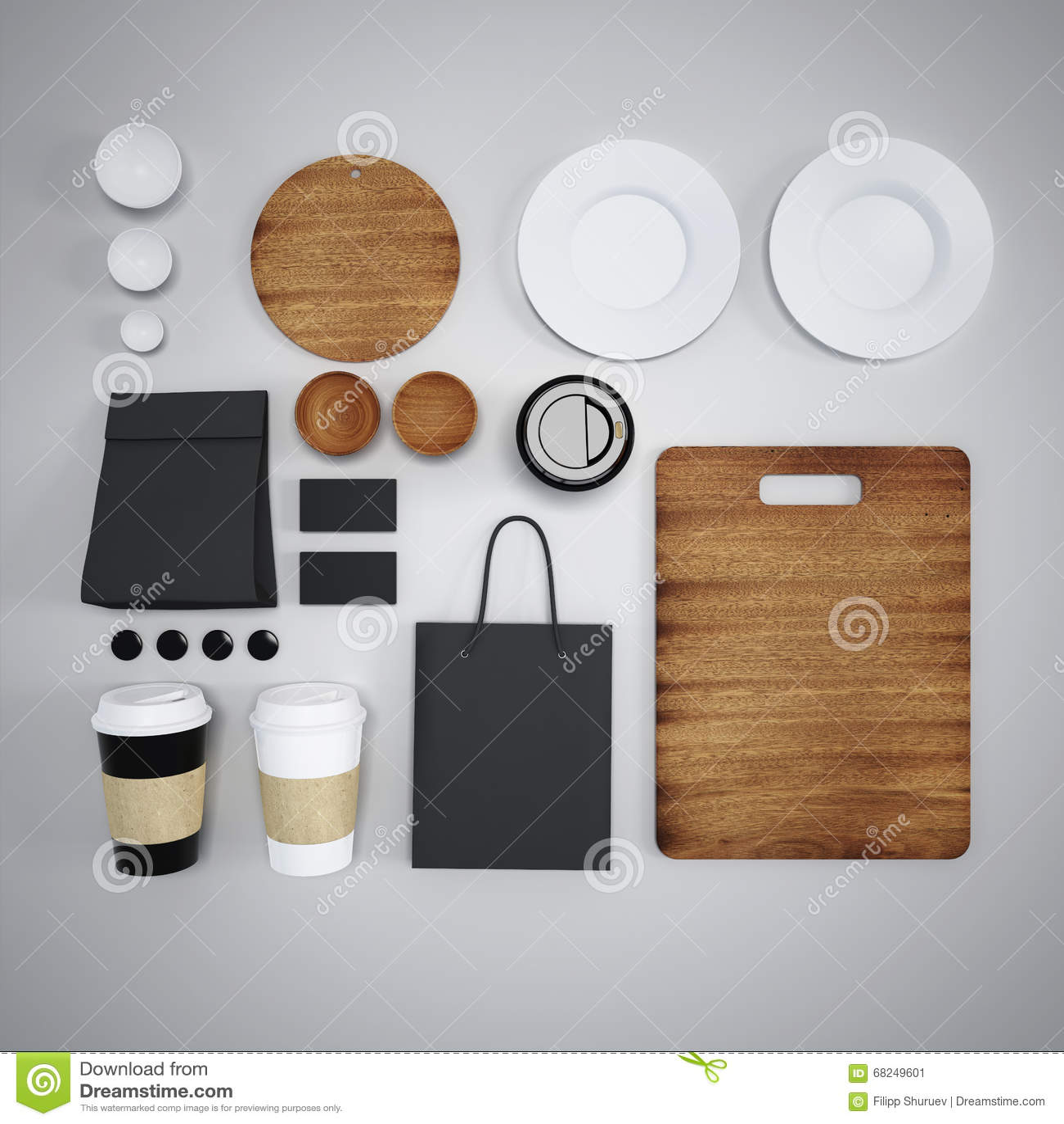 Maquette De Nourriture Et De Cuisine 3d Illustration Stock