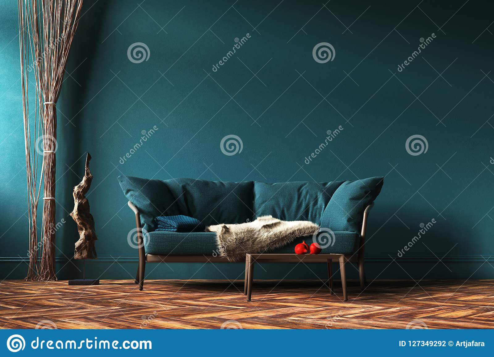 Maquette intérieure à la maison avec le sofa, les rideaux en corde et la table verts dans le salon