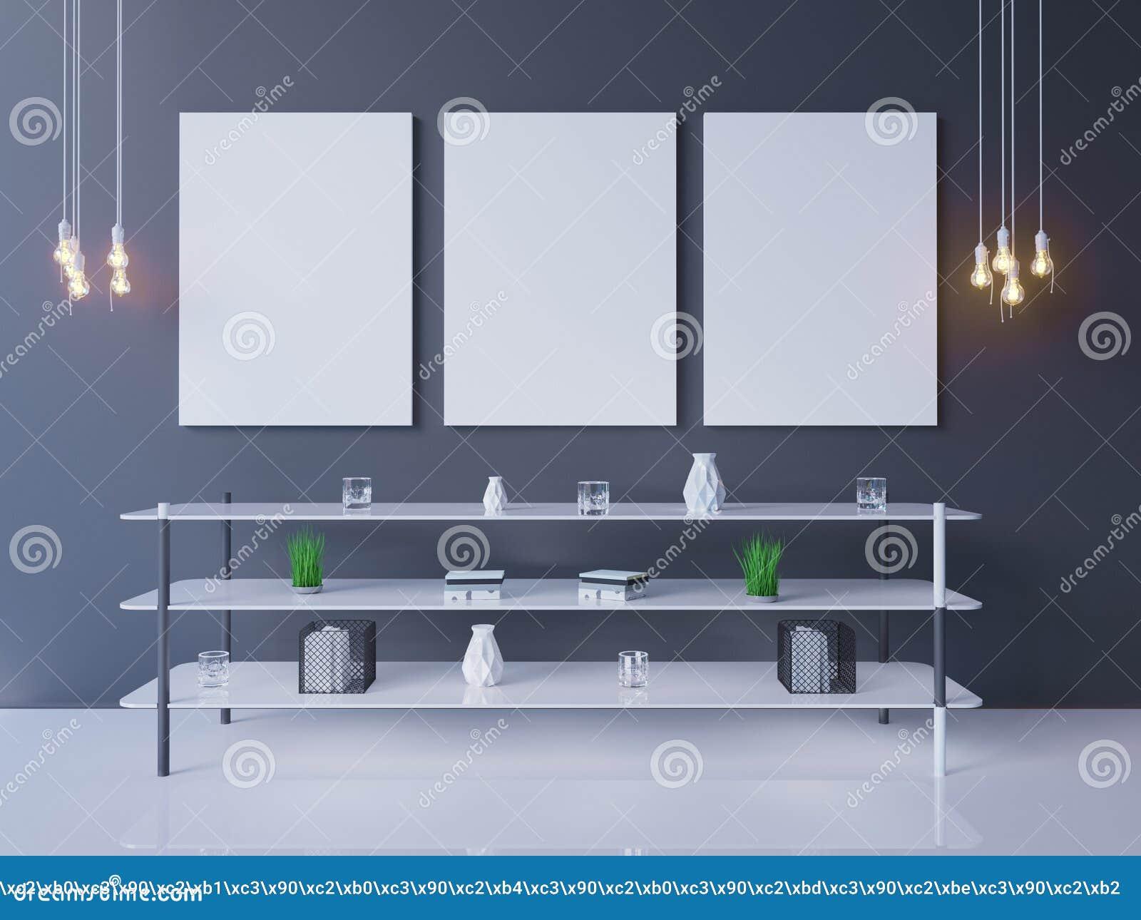 Maquette intérieure d affiche avec le cadre vide et usines dans la chambre rendu 3d Illustration